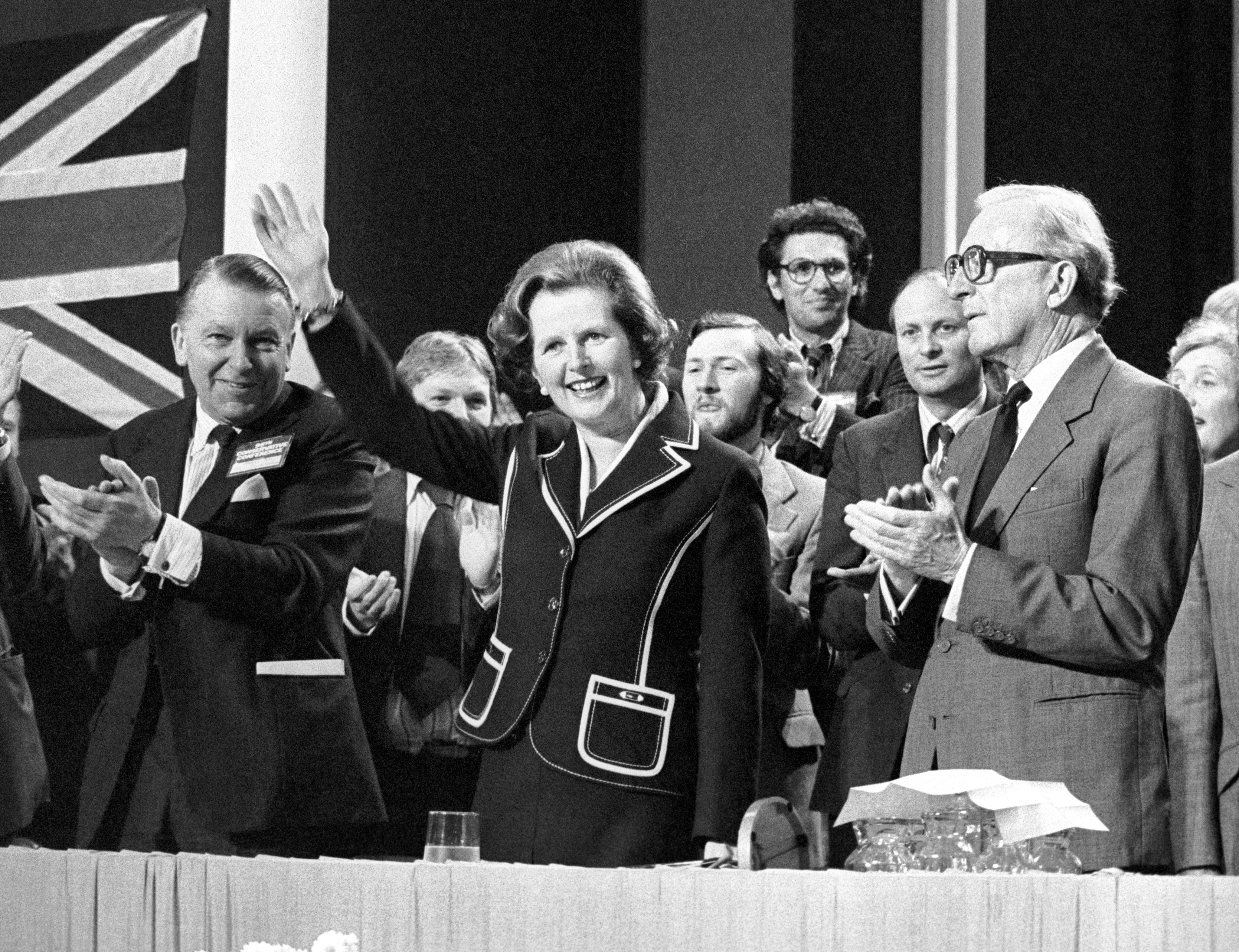 Margaret Thatcher receiving a rapturous reception at the Conservative Party Conference