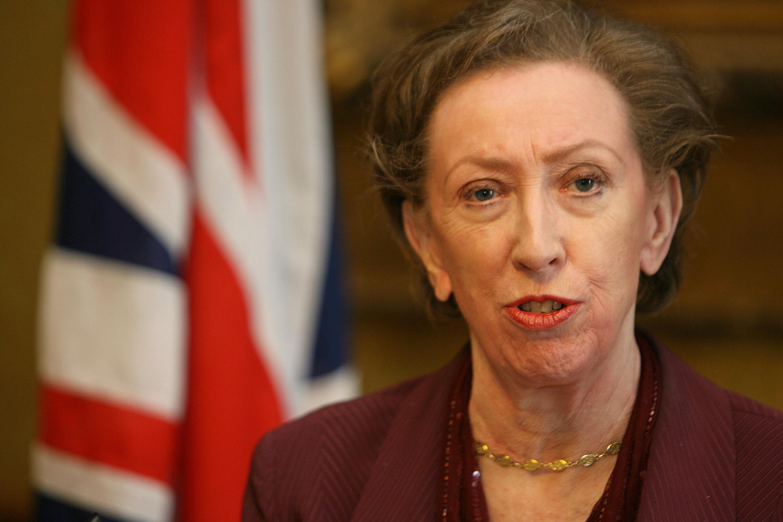 Then-Foreign Secretary Margaret Beckett gives a press conference