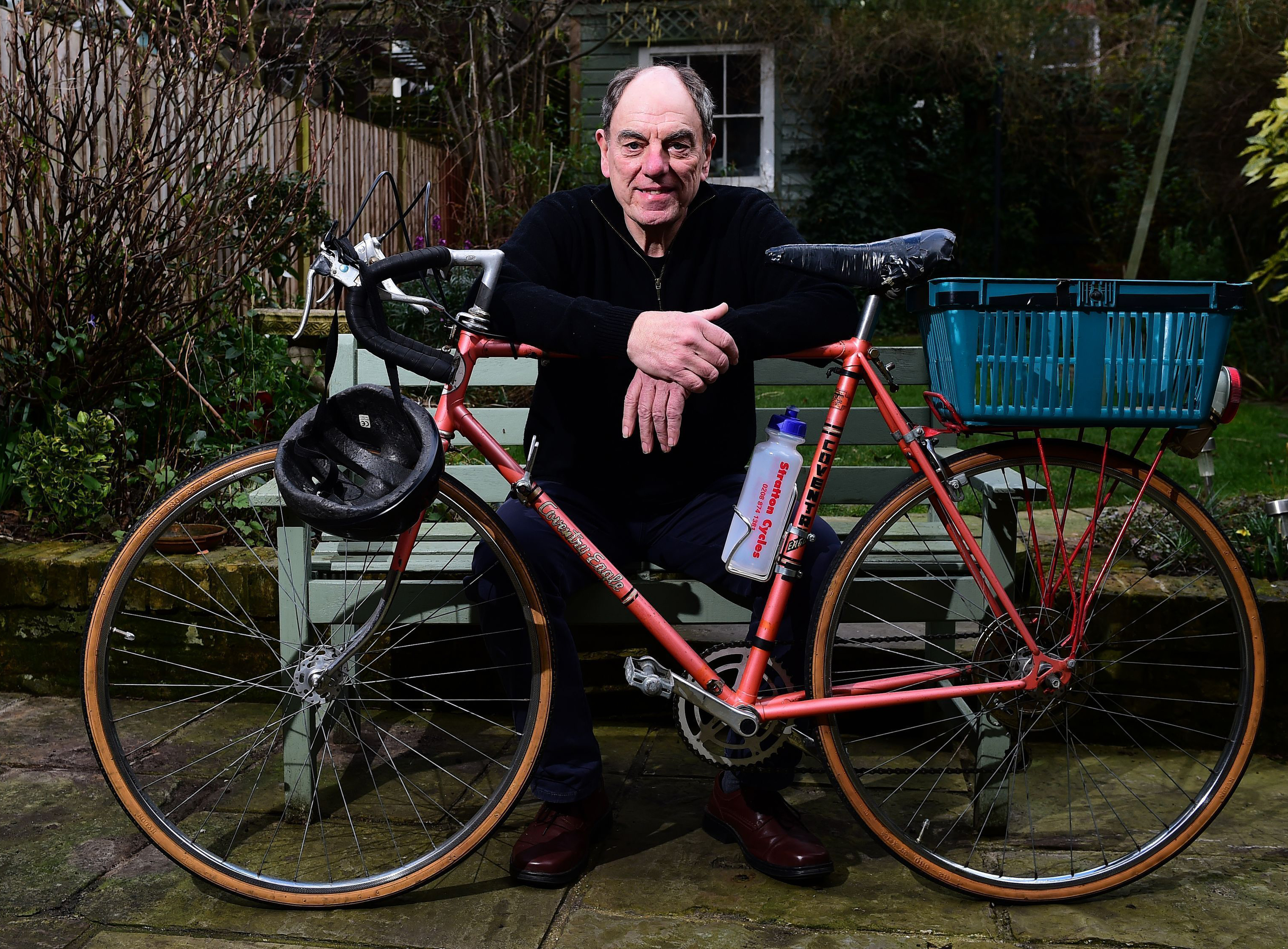 Alun Armstrong with Brian Lane's bike from TV show New Tricks (Ian West/PA)