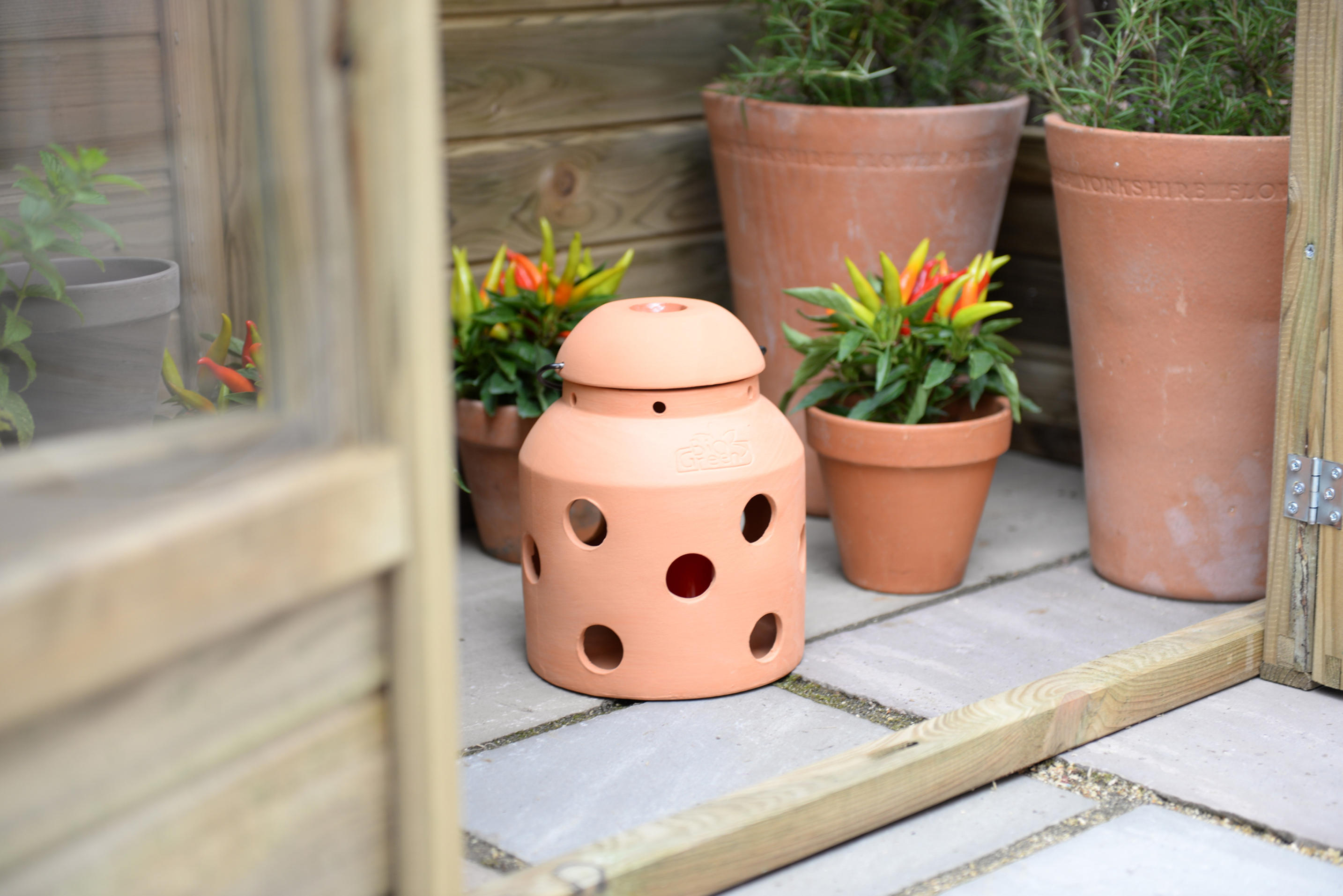 This terracotta FireFly can prevent frost in your greenhouse (Bio Green/PA)