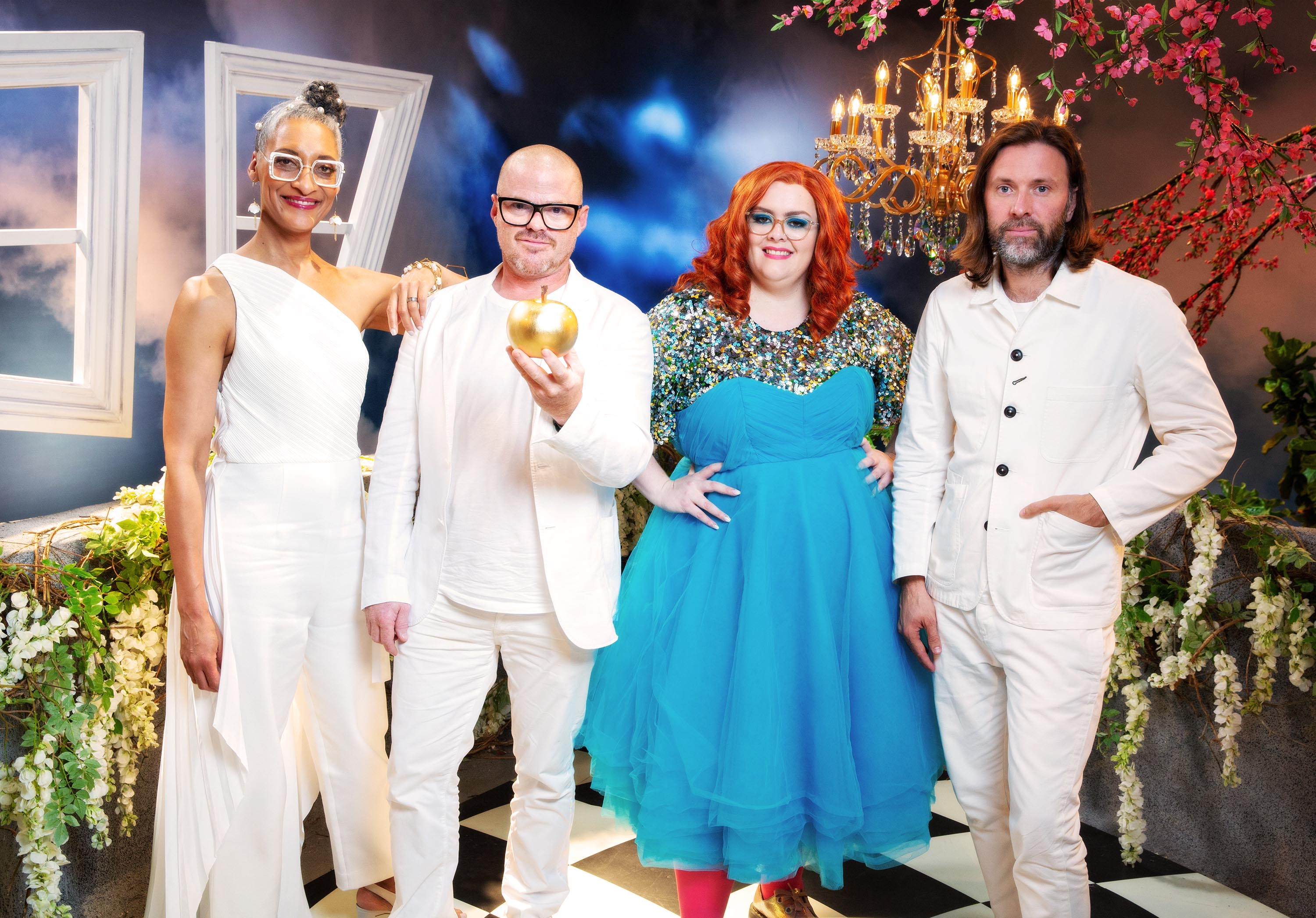 Carla Hall, Heston Blumenthal, Jayde Adams and Niklas Ekstedt
