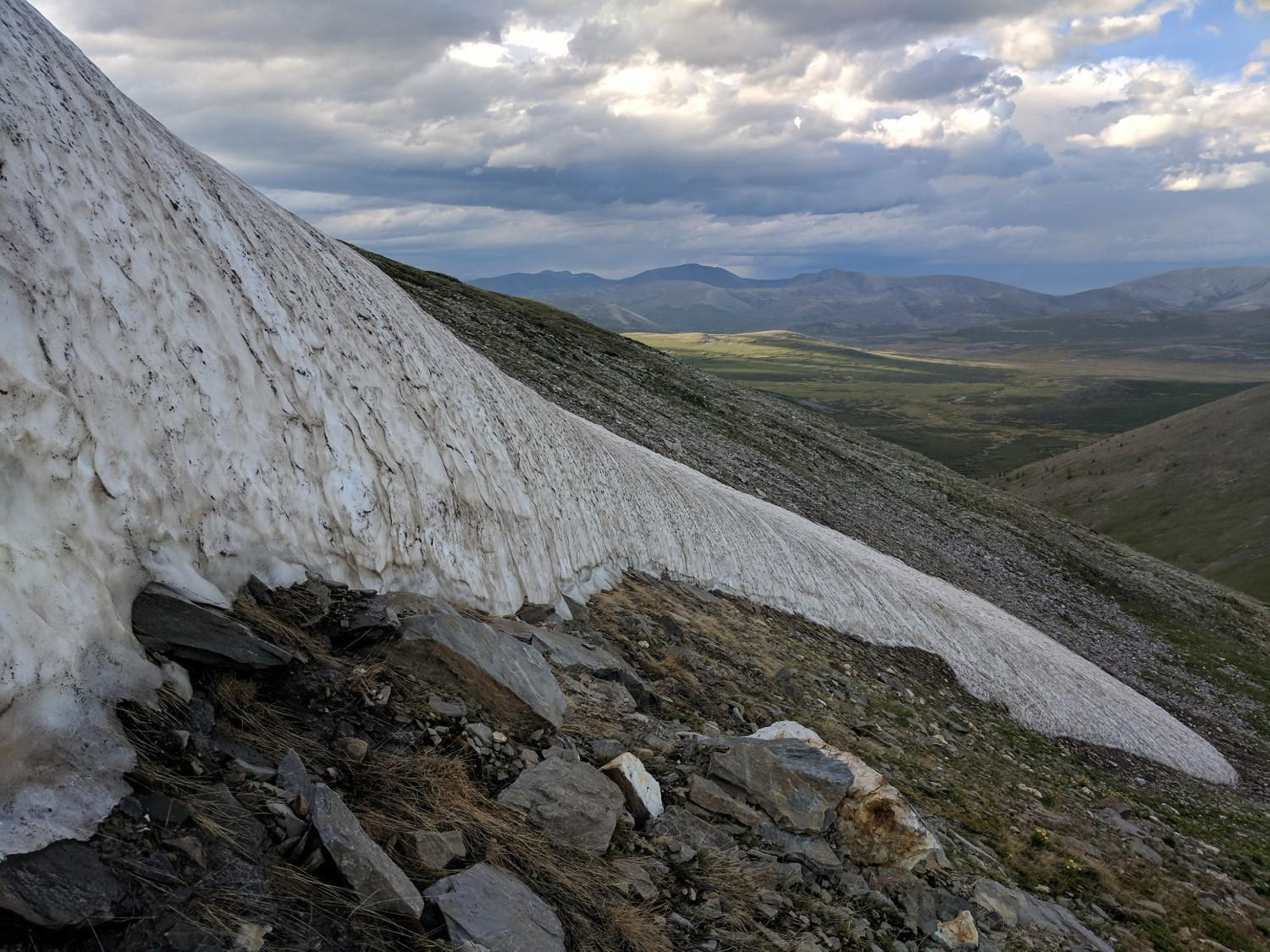 An ice patch nearing complete melt in northern Mongolia's Ulaan Taiga Special Protected Area in 2018.