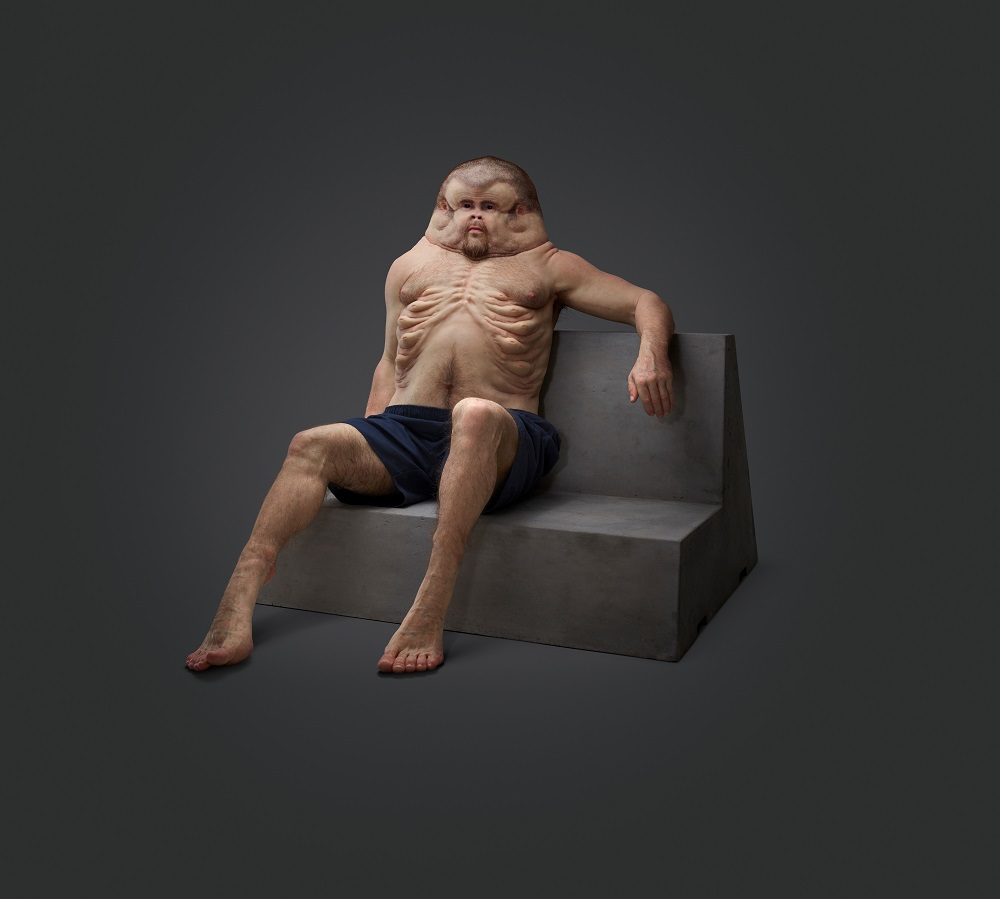 Graham, a model of a human evolved to withstand crashes, by Patricia Piccinini in collaboration with the Transport Accident Commission in Australia, 2016