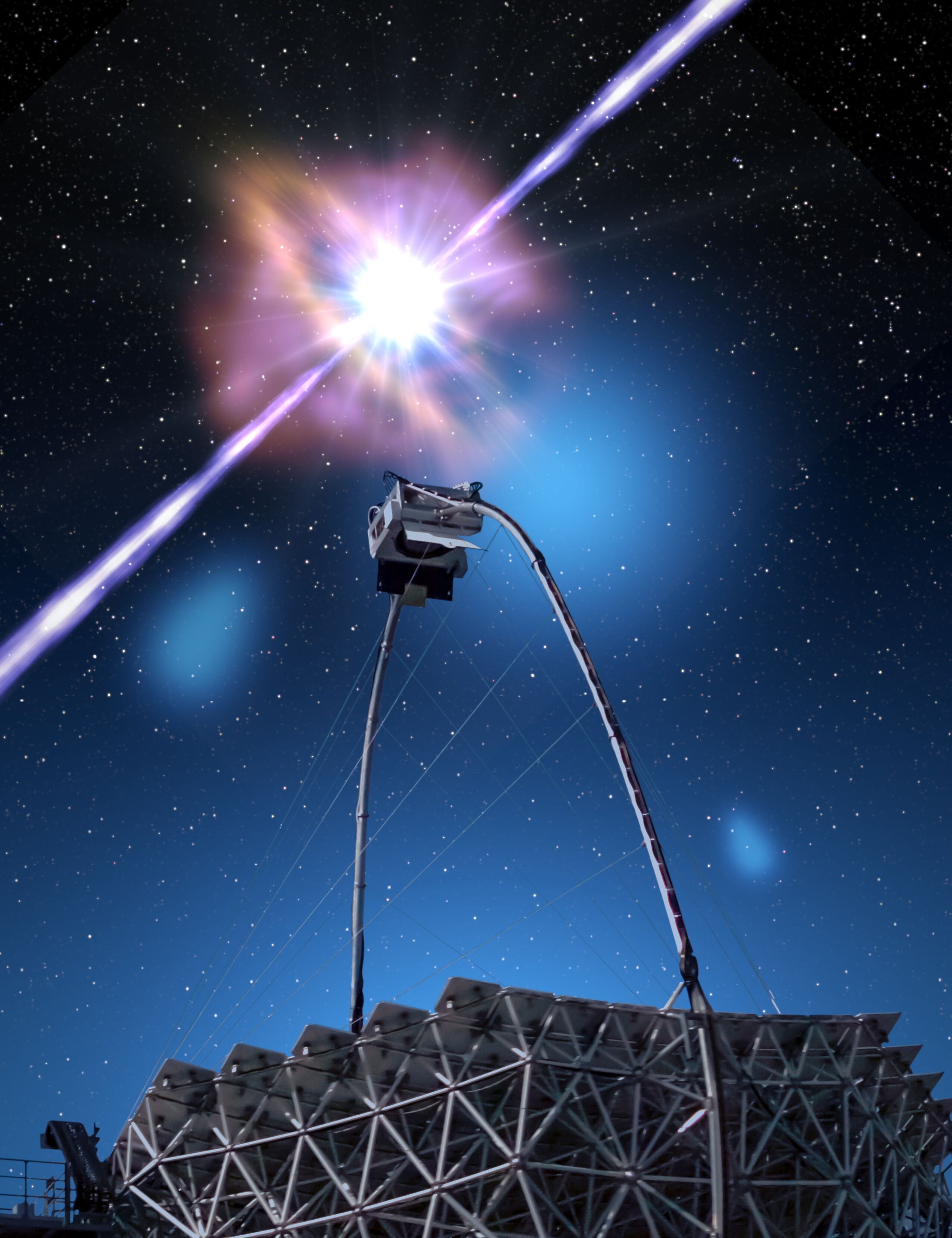 An artist's view of a MAGIC telescope with gamma-ray burst