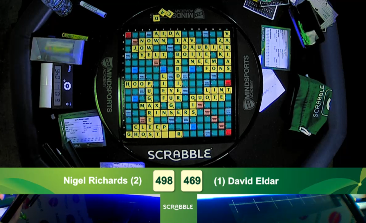 One of Nigel Richards' winning boards at the 2019 World Scrabble Championship