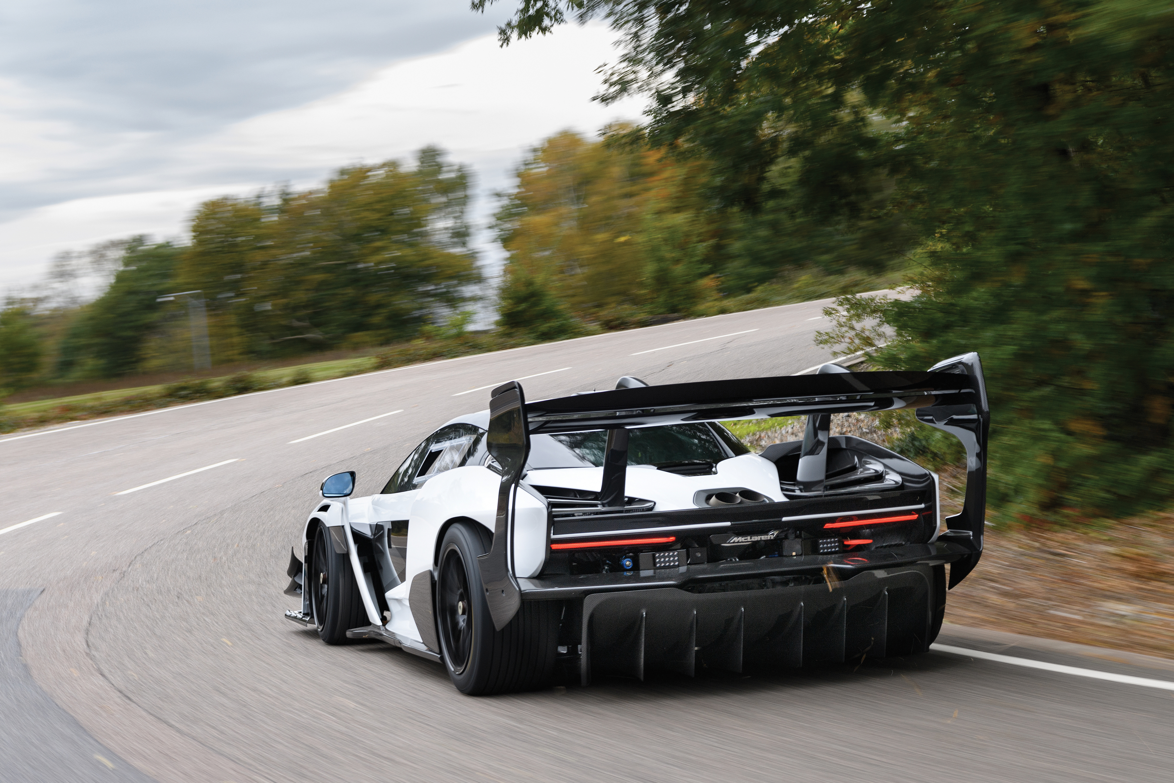 A giant rear wing provides huge downforce