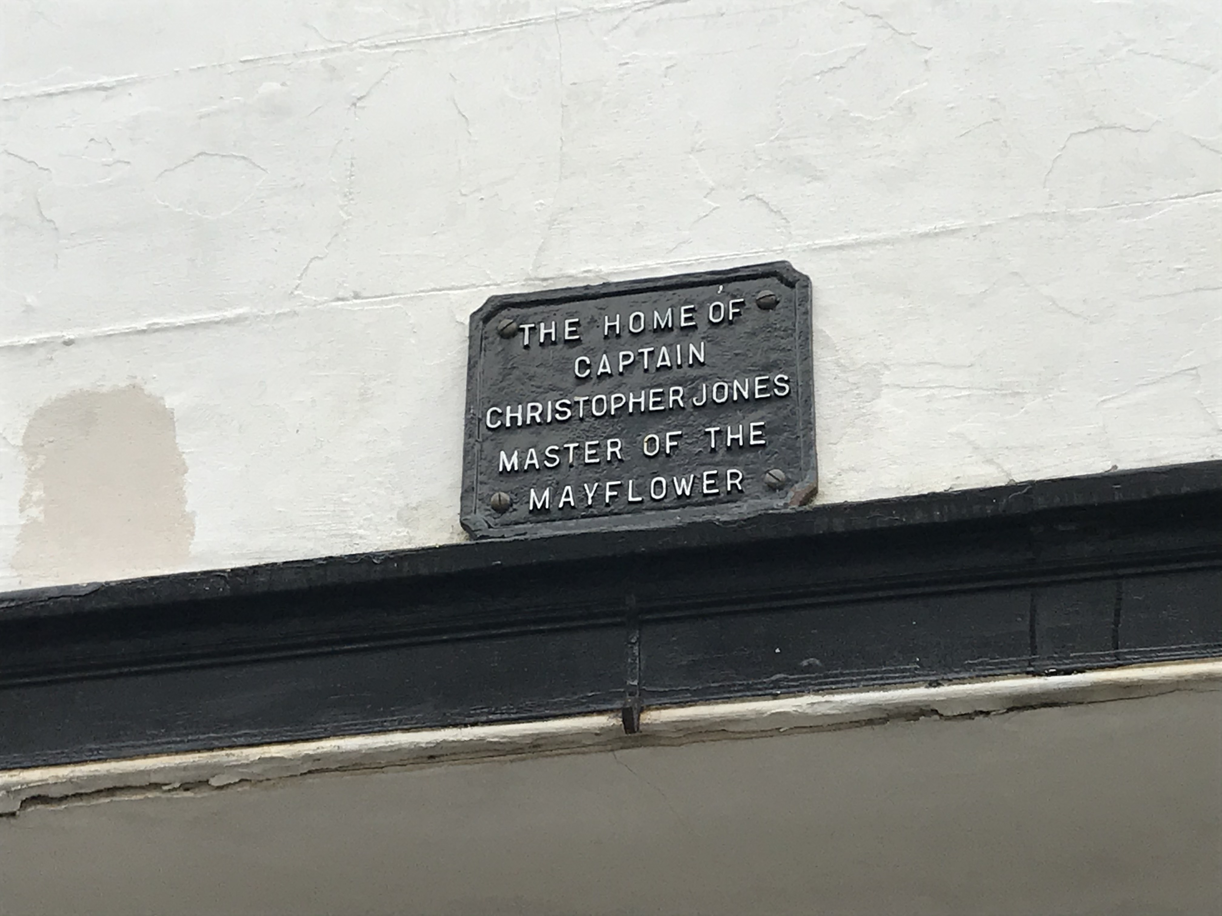 The plaque outside the house where Mayflower captain Christopher Jones once lived