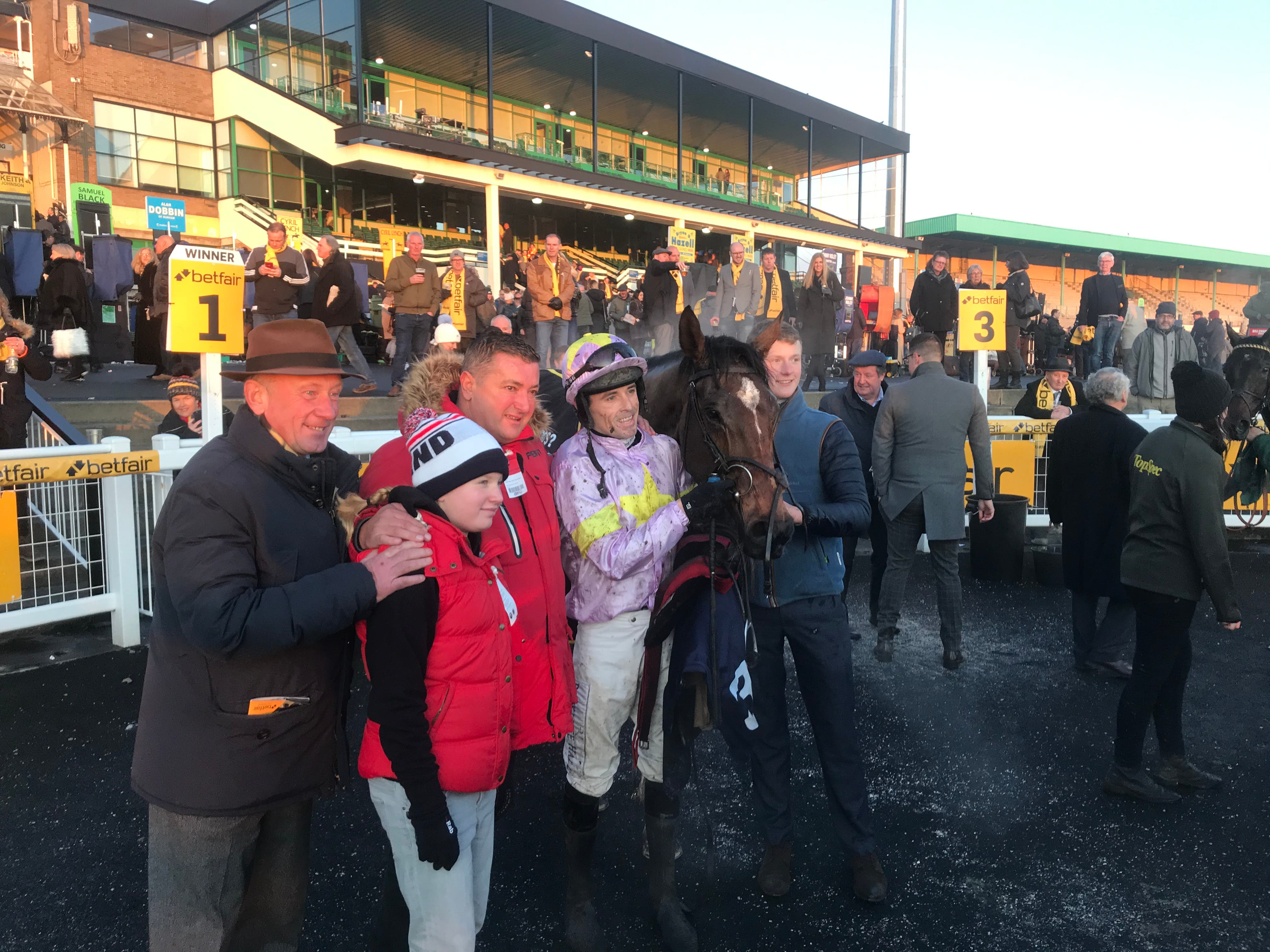 Takingrisks after winning the Rehearsal Chase at Newcastle (Ashley Iveson/PA)