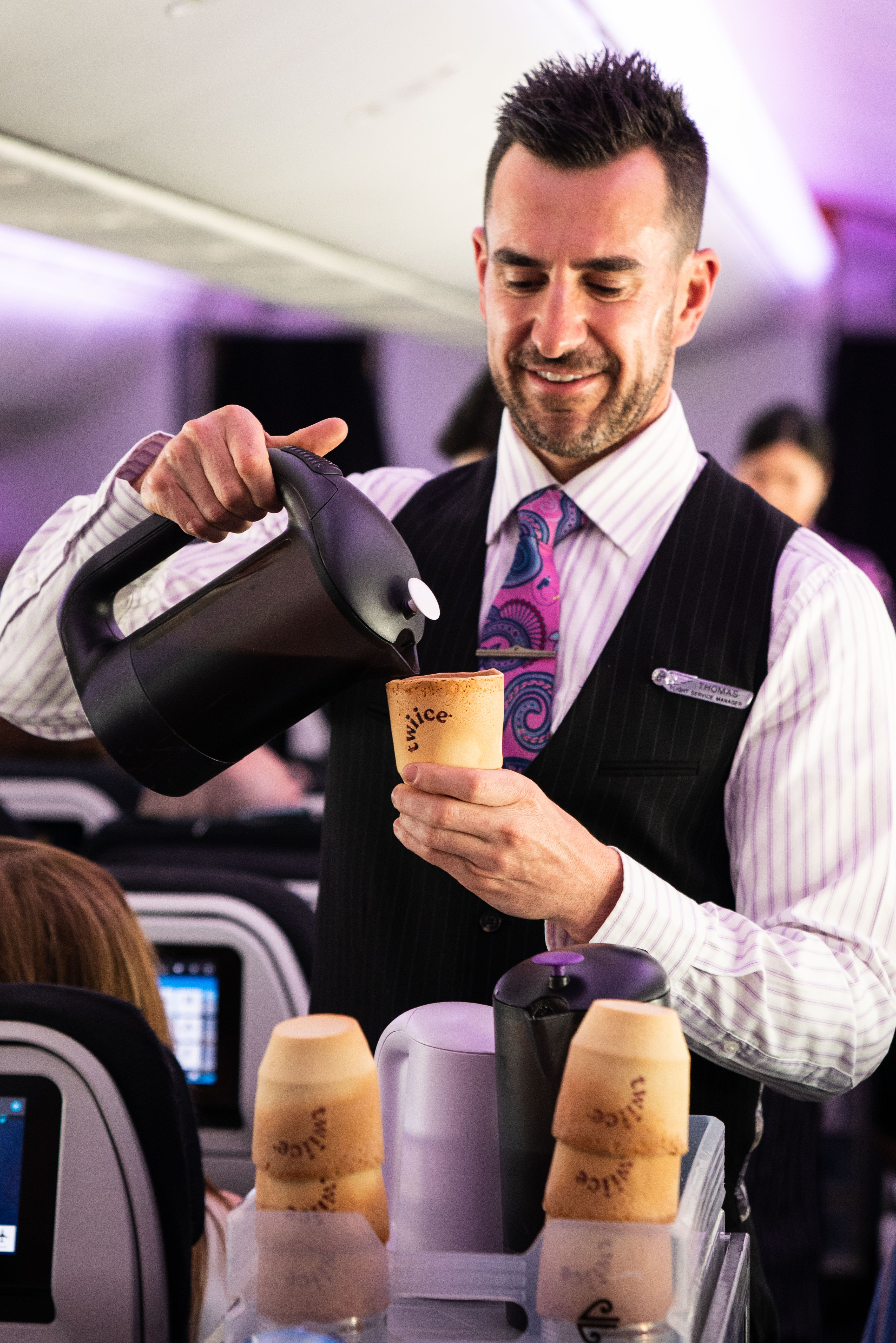 Air New Zealand trialing edible biscuit coffee cups on their