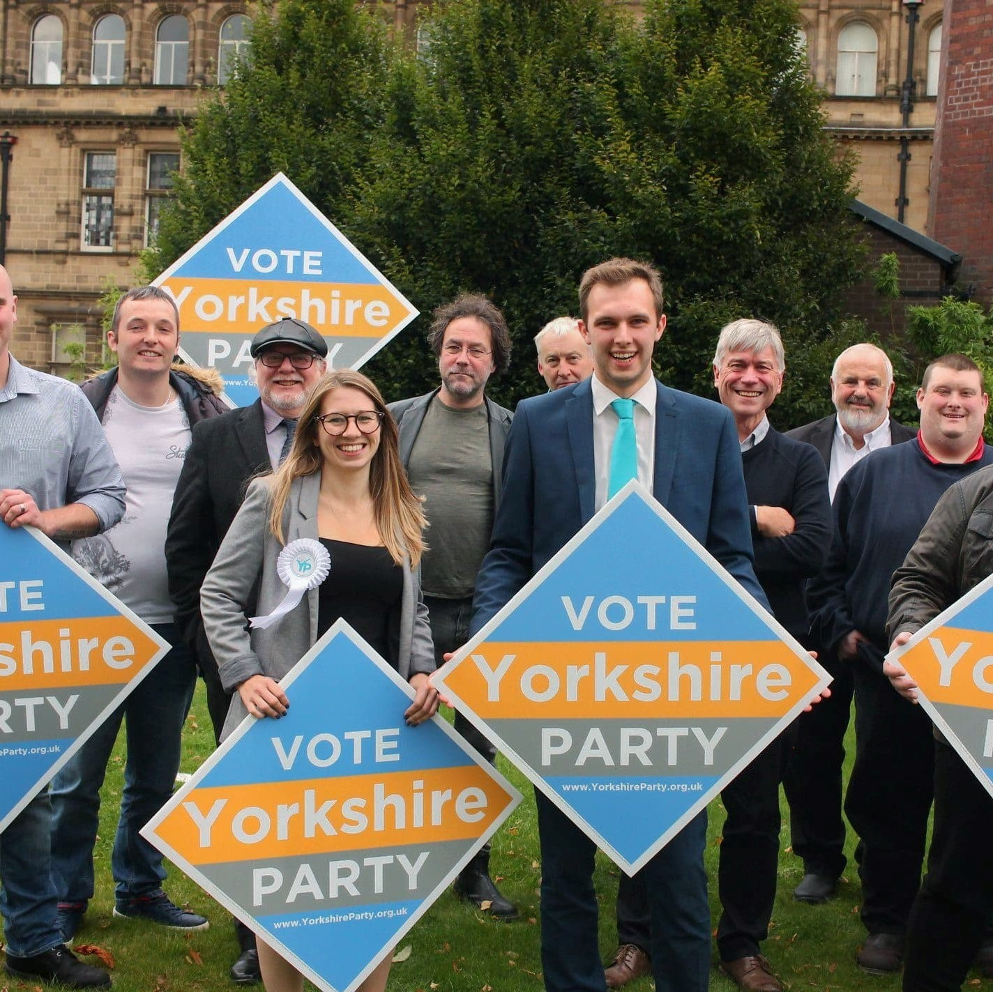 Yorkshire Party candidates standing in the General Election with leader Chris Whitwood at the front