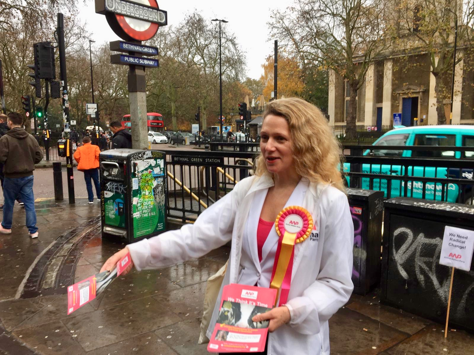 Animal Welfare Party leader Vanessa Hudson campaigning in Bethnal Green and Bow
