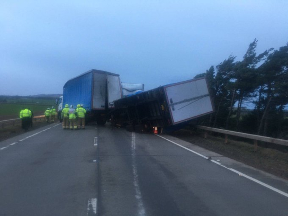 The two lorries blown over on the A1