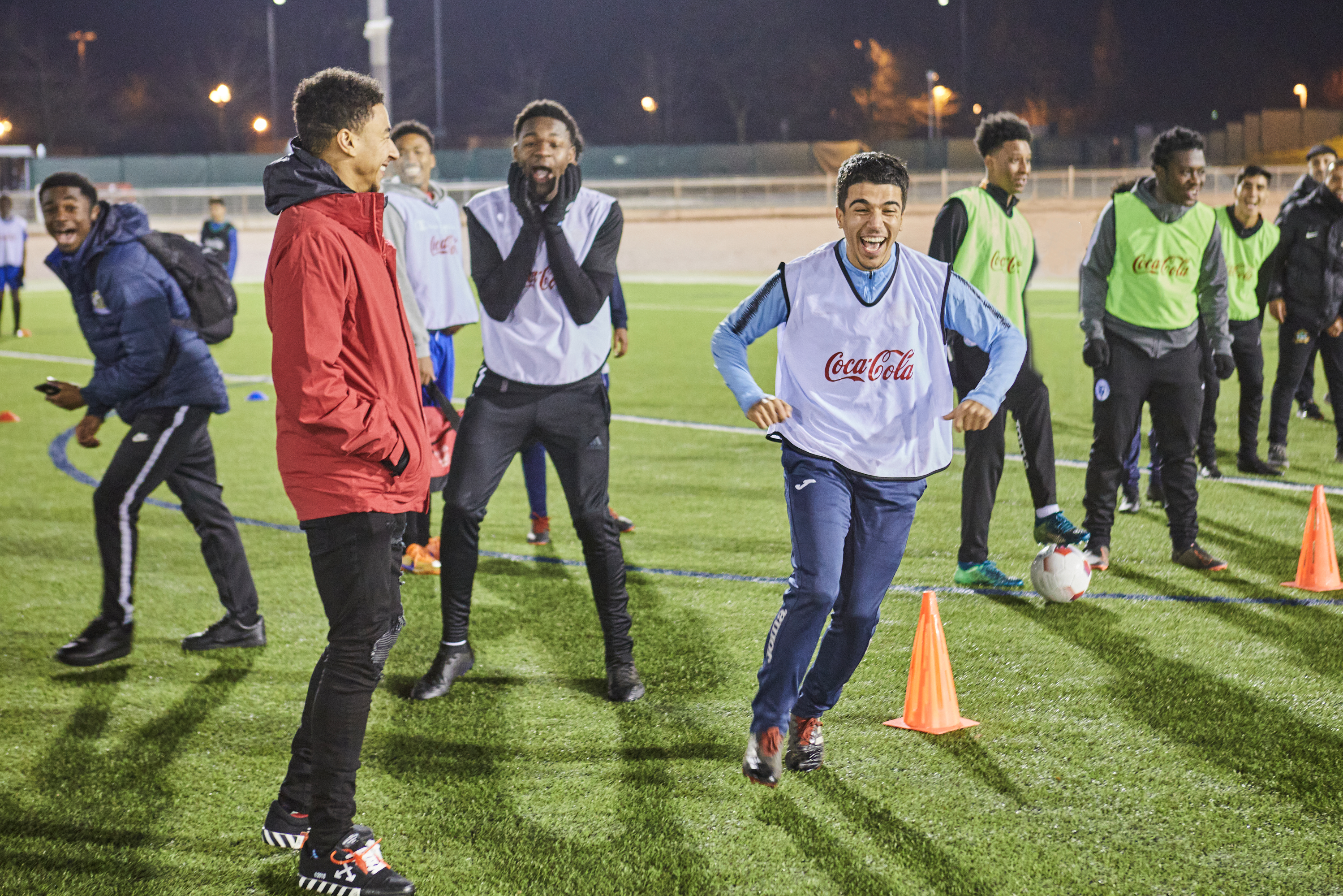 Coca-Cola ambassador Jesse Lingard takes part in a training session with StreetGames players in Manchester