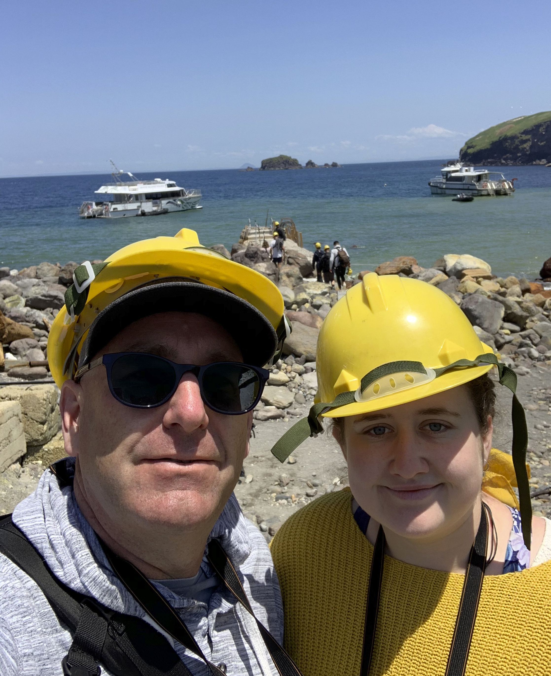 Lillani Hopkins with her father Geoff prior to the eruption on White Island off the coast of Whakatane, New Zealand
