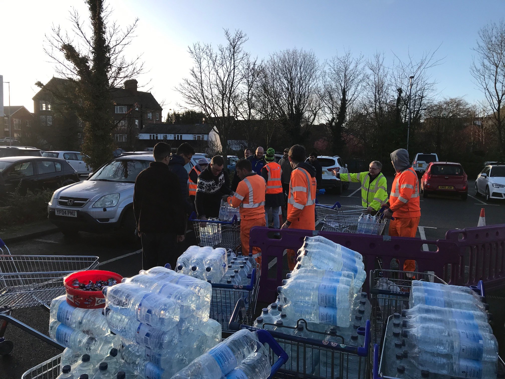 Some bottles being handed out by Anglian Water