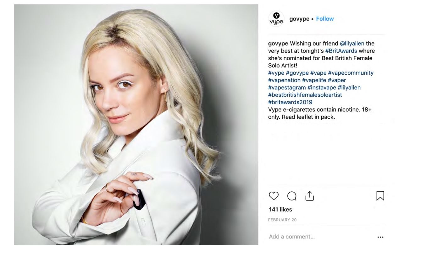 One of BAT's banned Instagram posts featuring the singer Lily Allen. (ASA/PA)