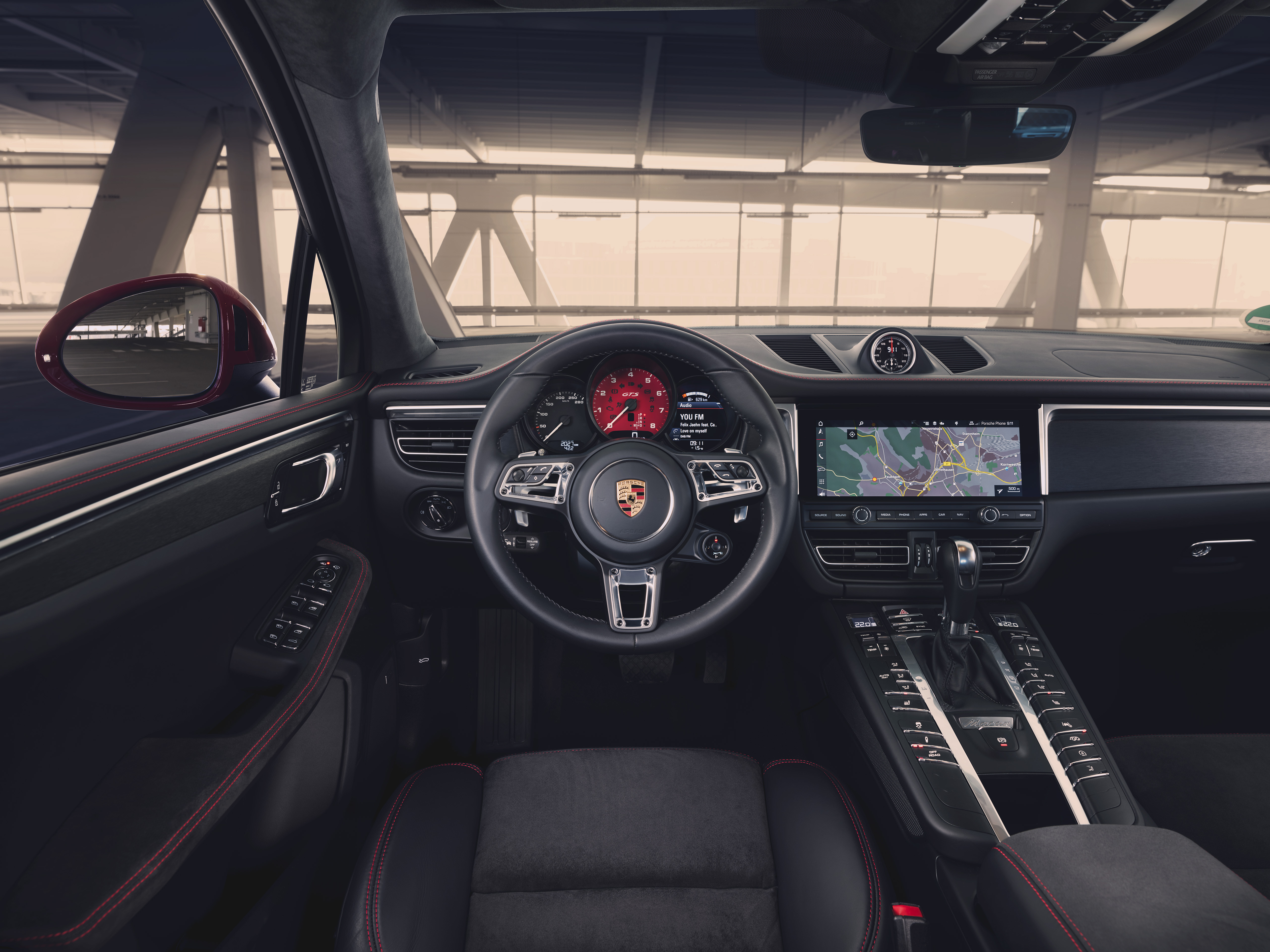 Alcantara has been used on a variety of the interior components