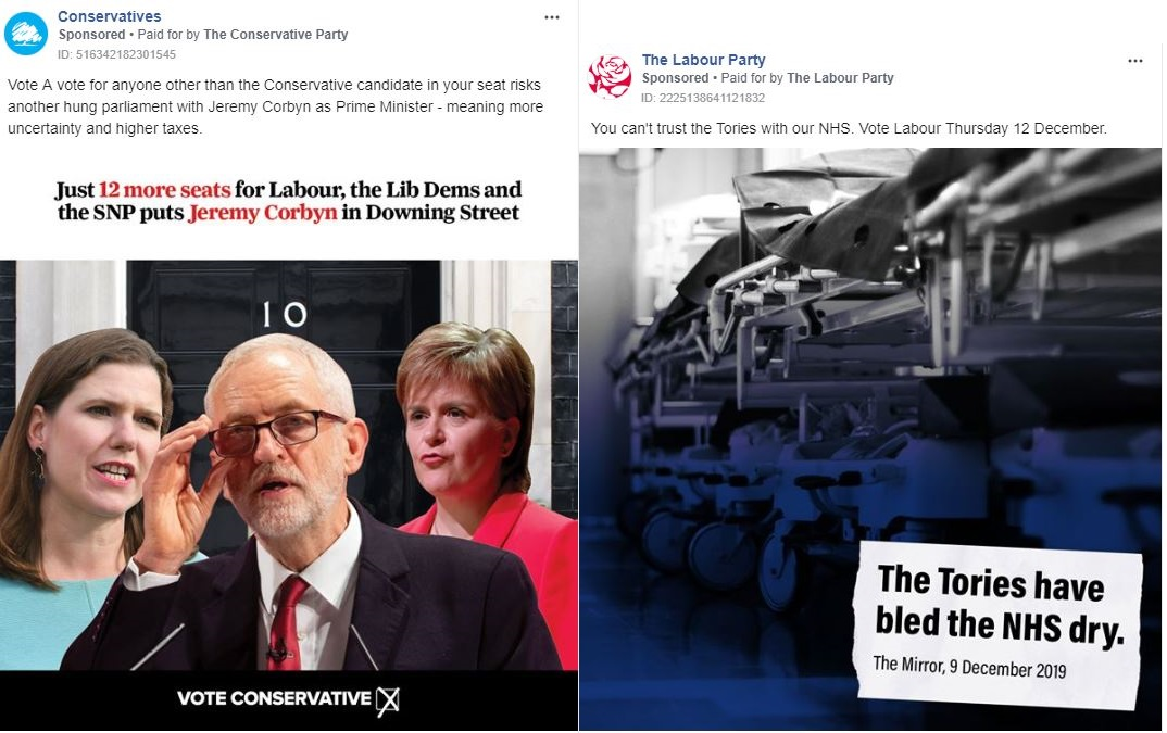 Examples of ads run by the Conservatives and Labour (Facebook)
