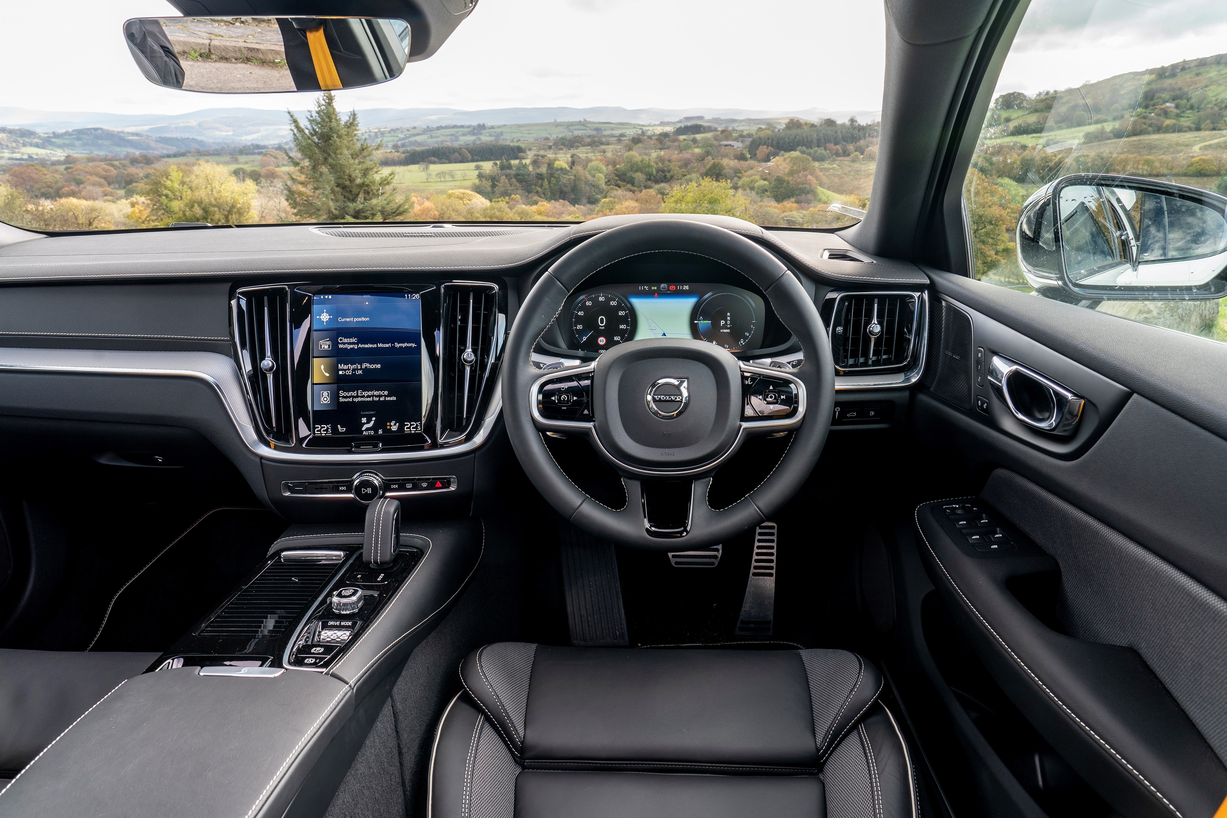 The interior of the car is largely the same as the standard V60's