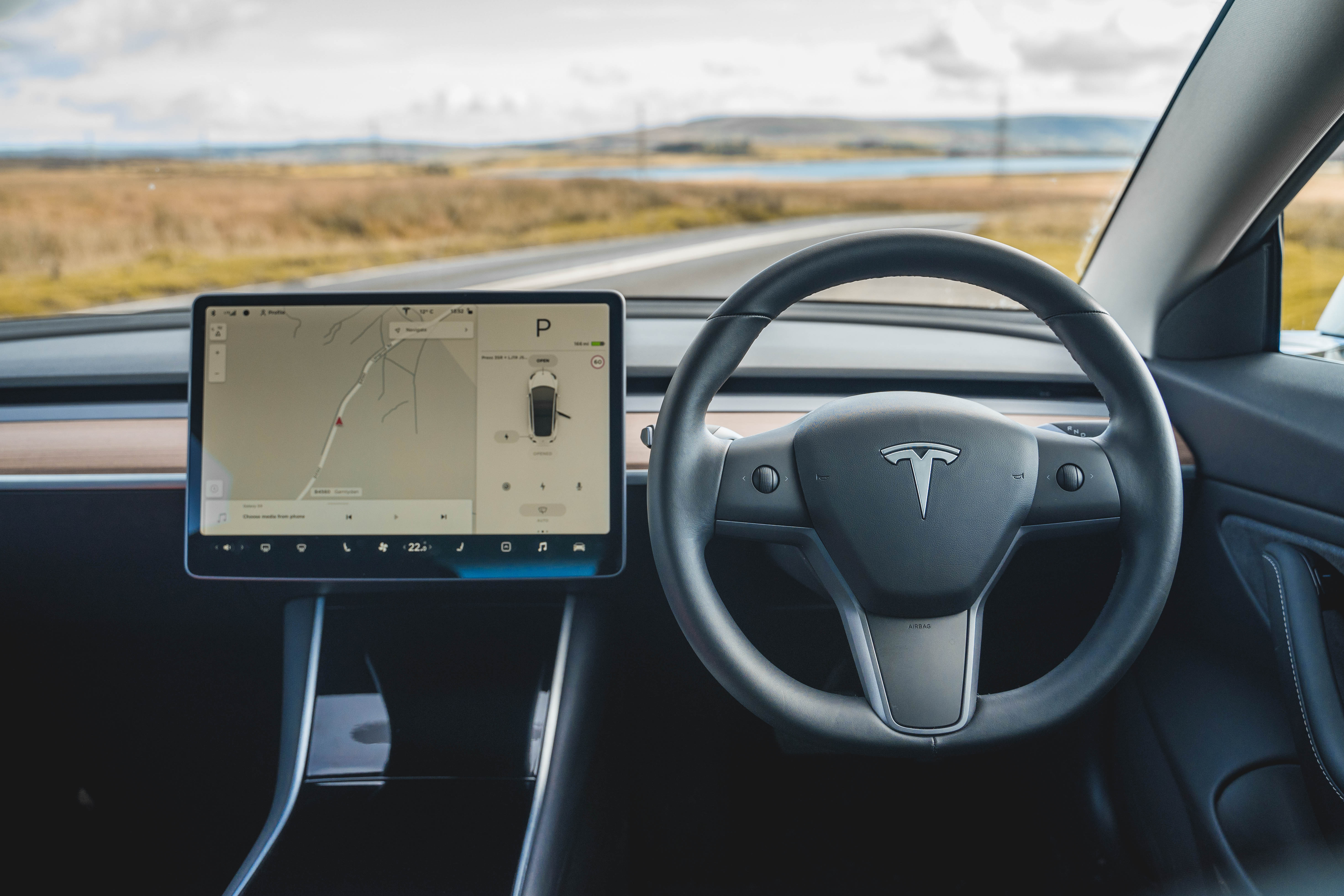 The interior of the Model 3 is dominated by the screen