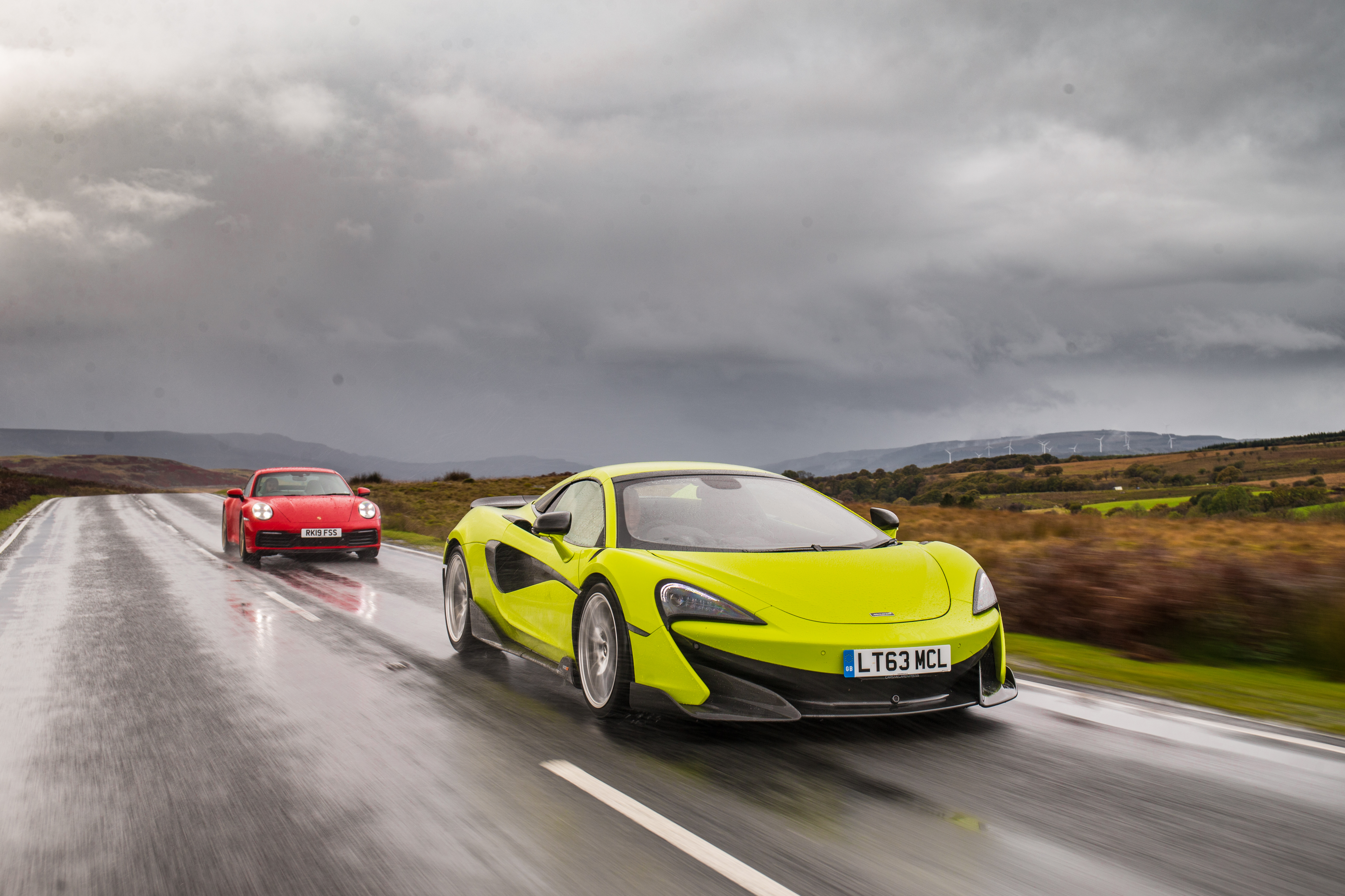 The McLaren proved to be a handful on wet roads