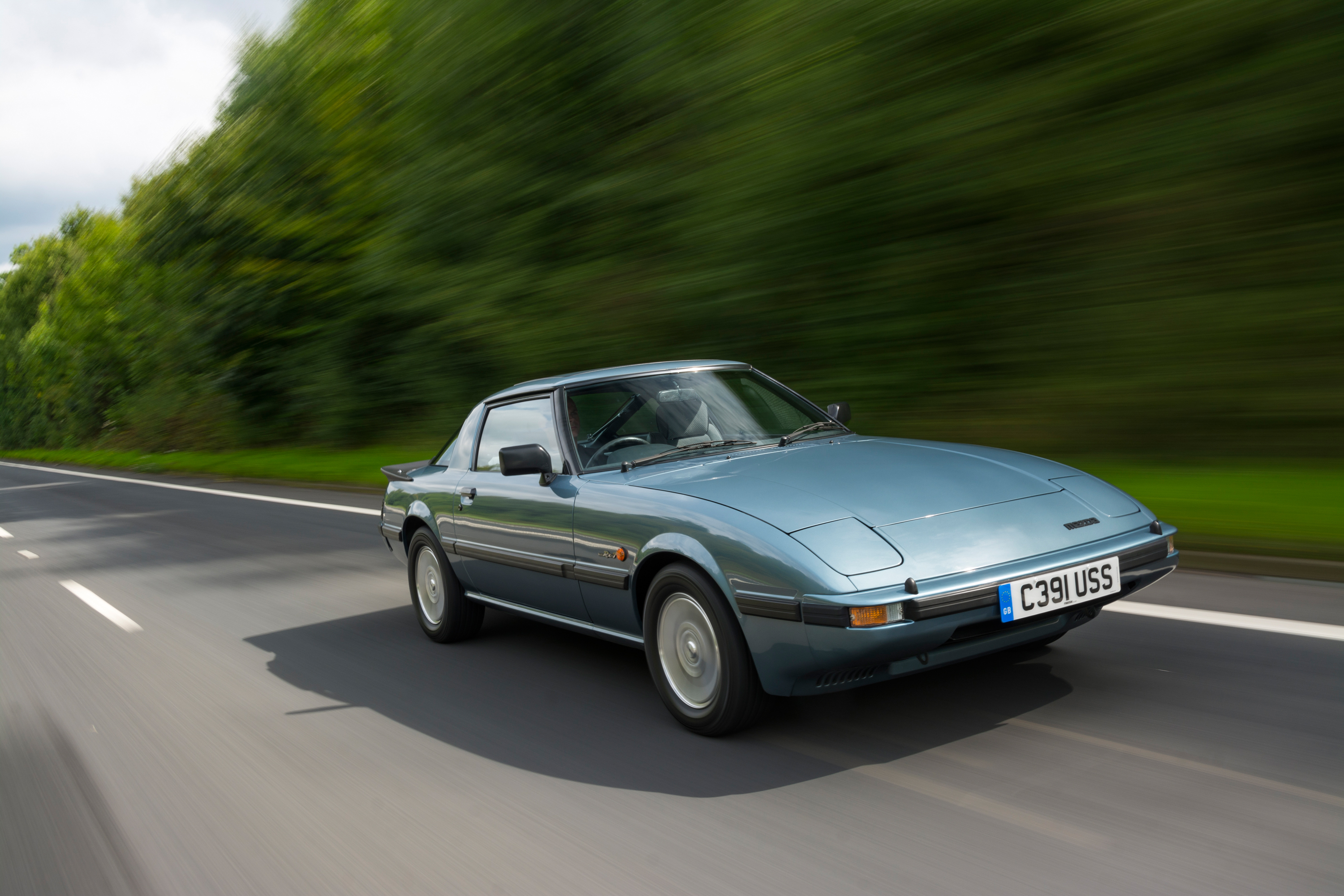 The sleek design of the RX-7 is hard to miss