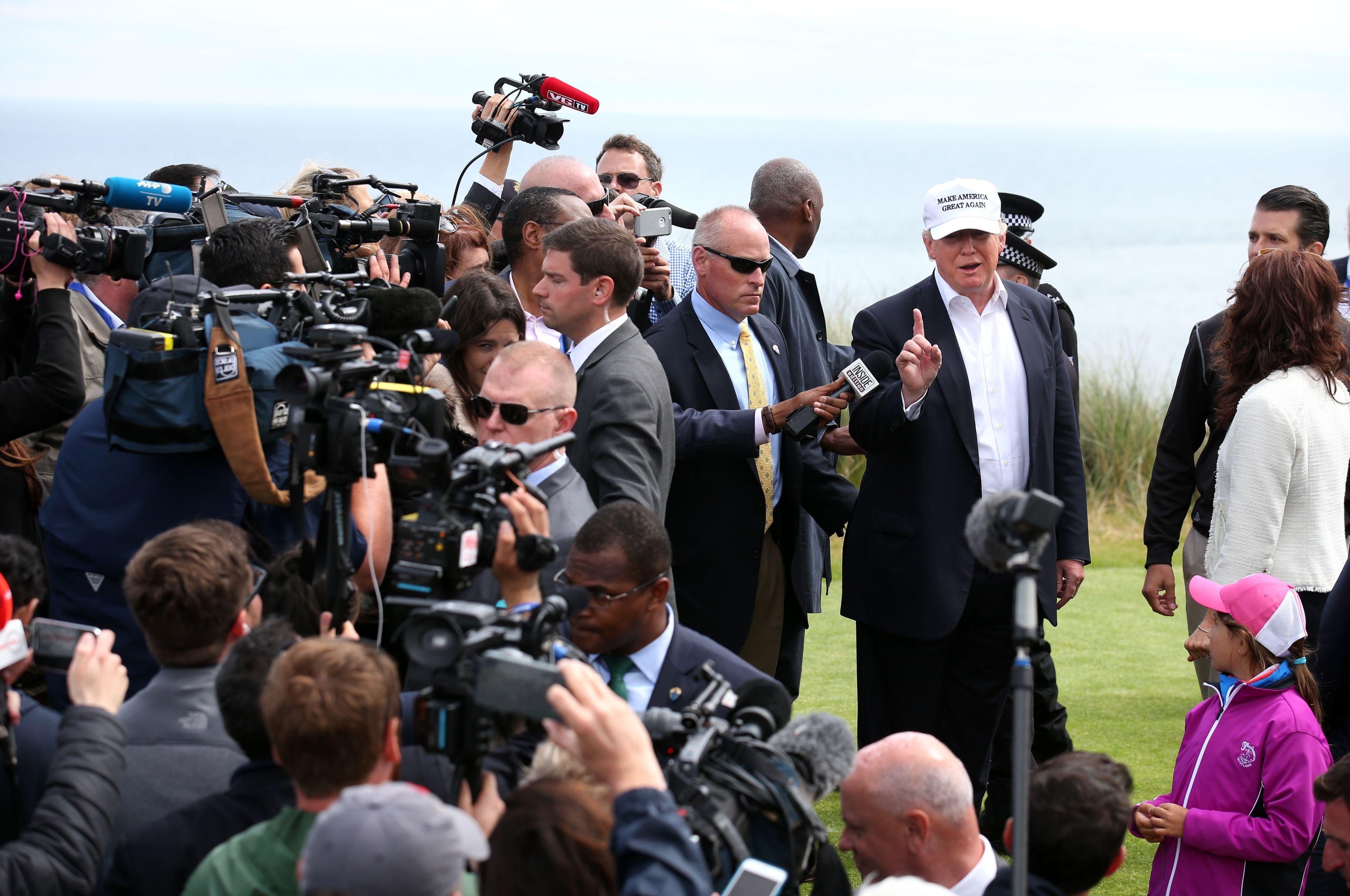 Donald Trump at his golf course in Scotland in 2016