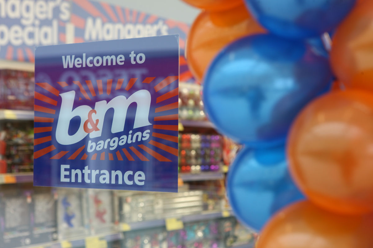 A B&M Bargains shop sign