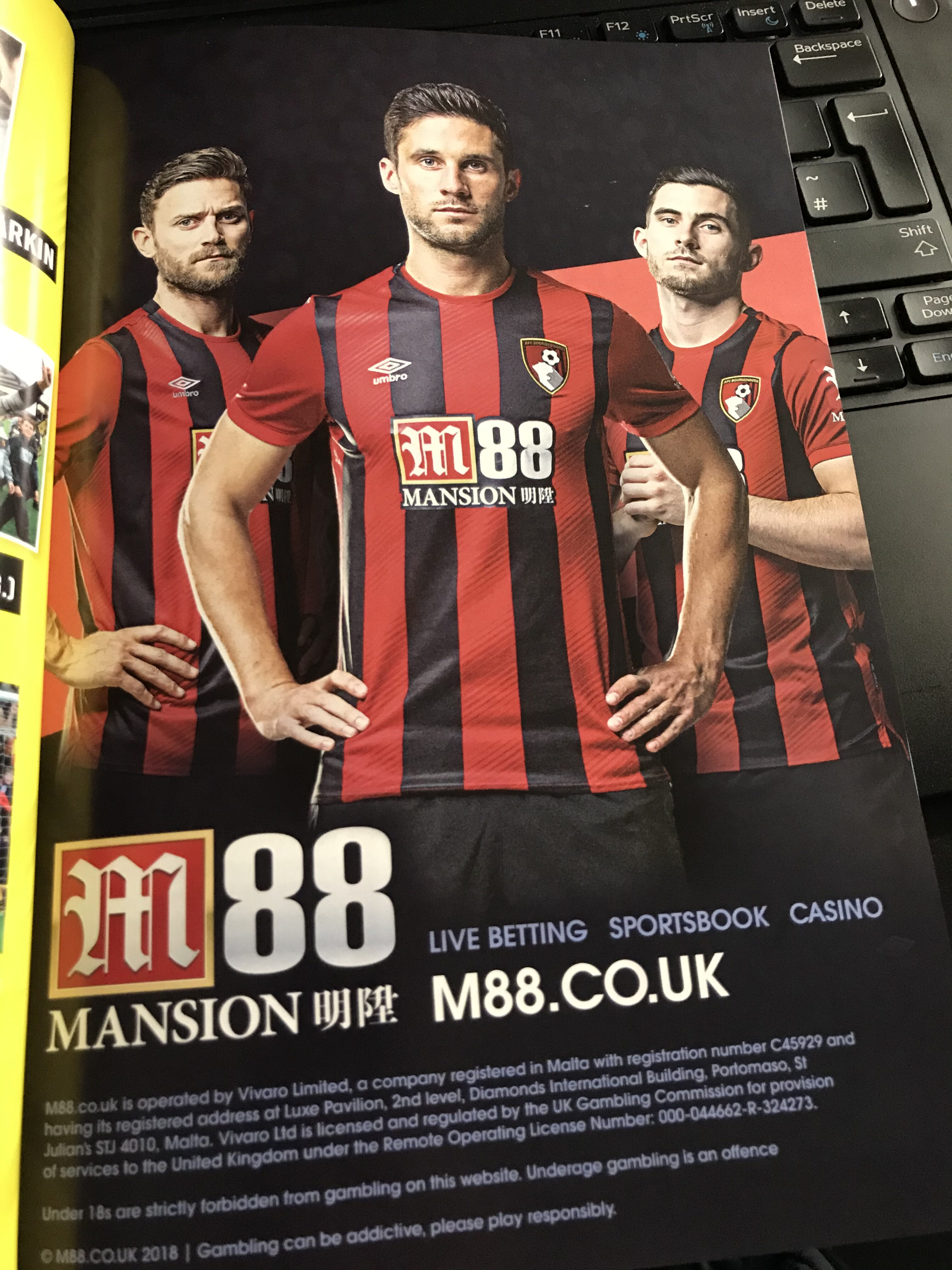 An advert in Bournemouth's matchday programme
