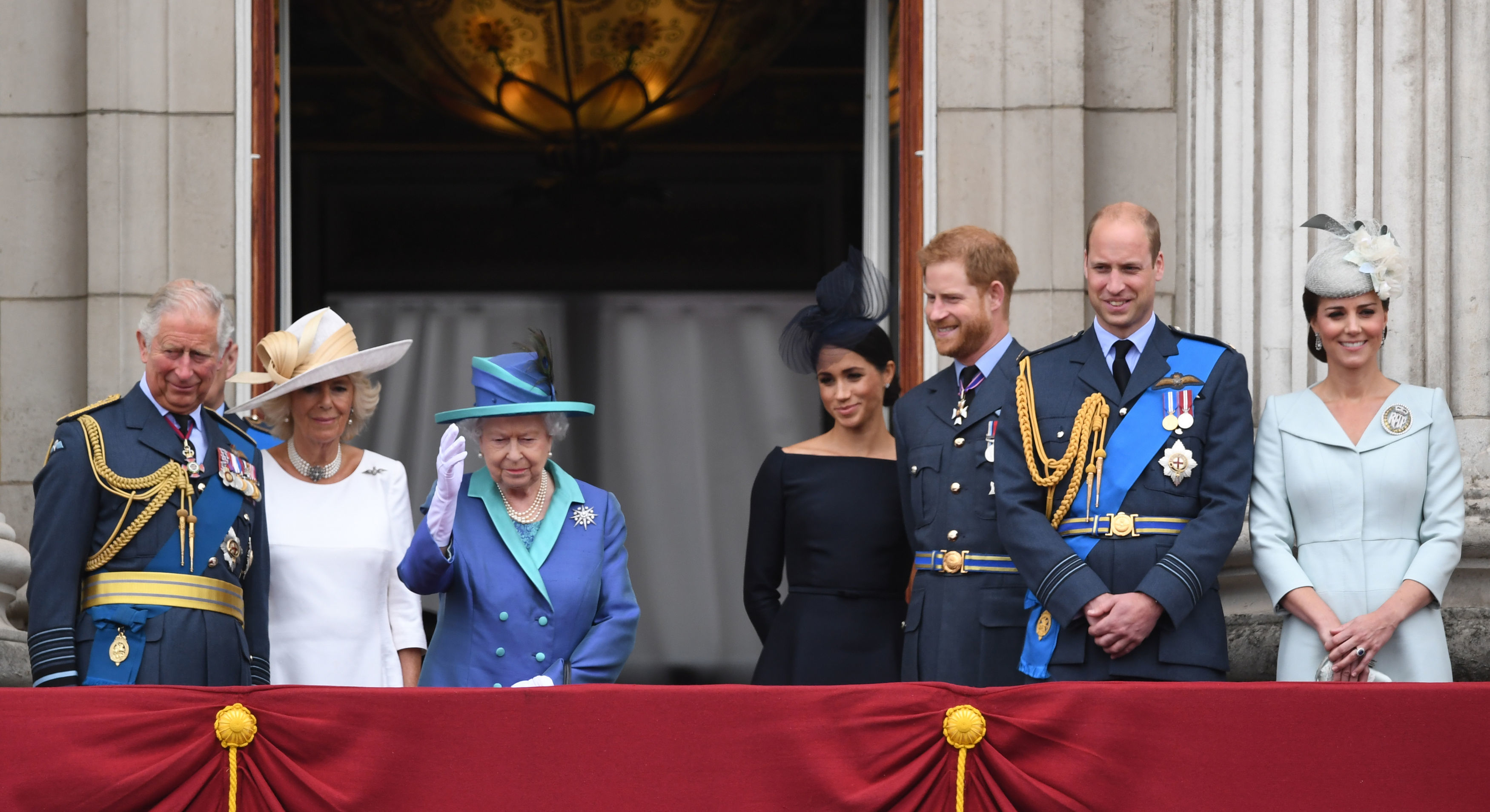 Harry and Meghan with the royals on the balcony at Buckingham Palace