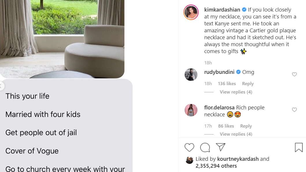 Screengrab from Kim Kardashian's Instagram