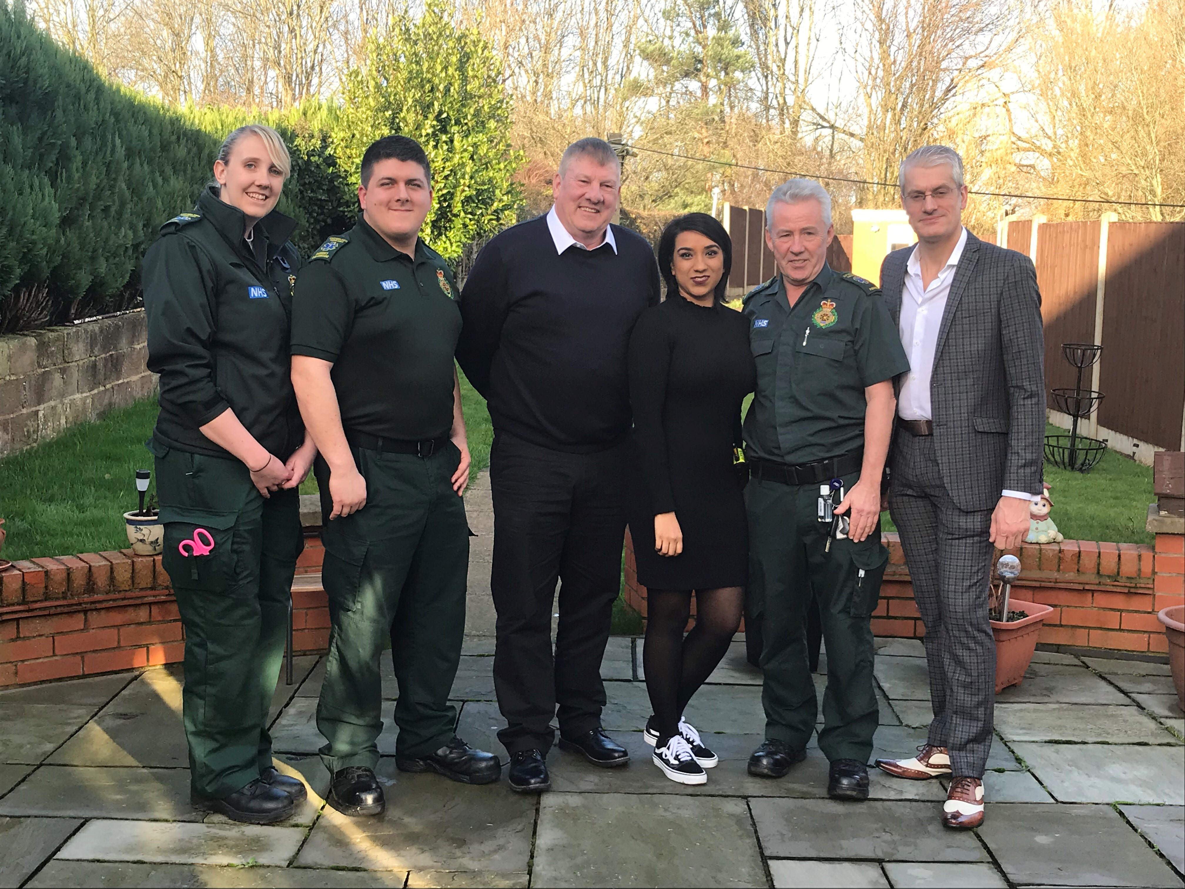 John Rastrick and Pari Mistry are reunited with East Midlands Ambulance Service crew