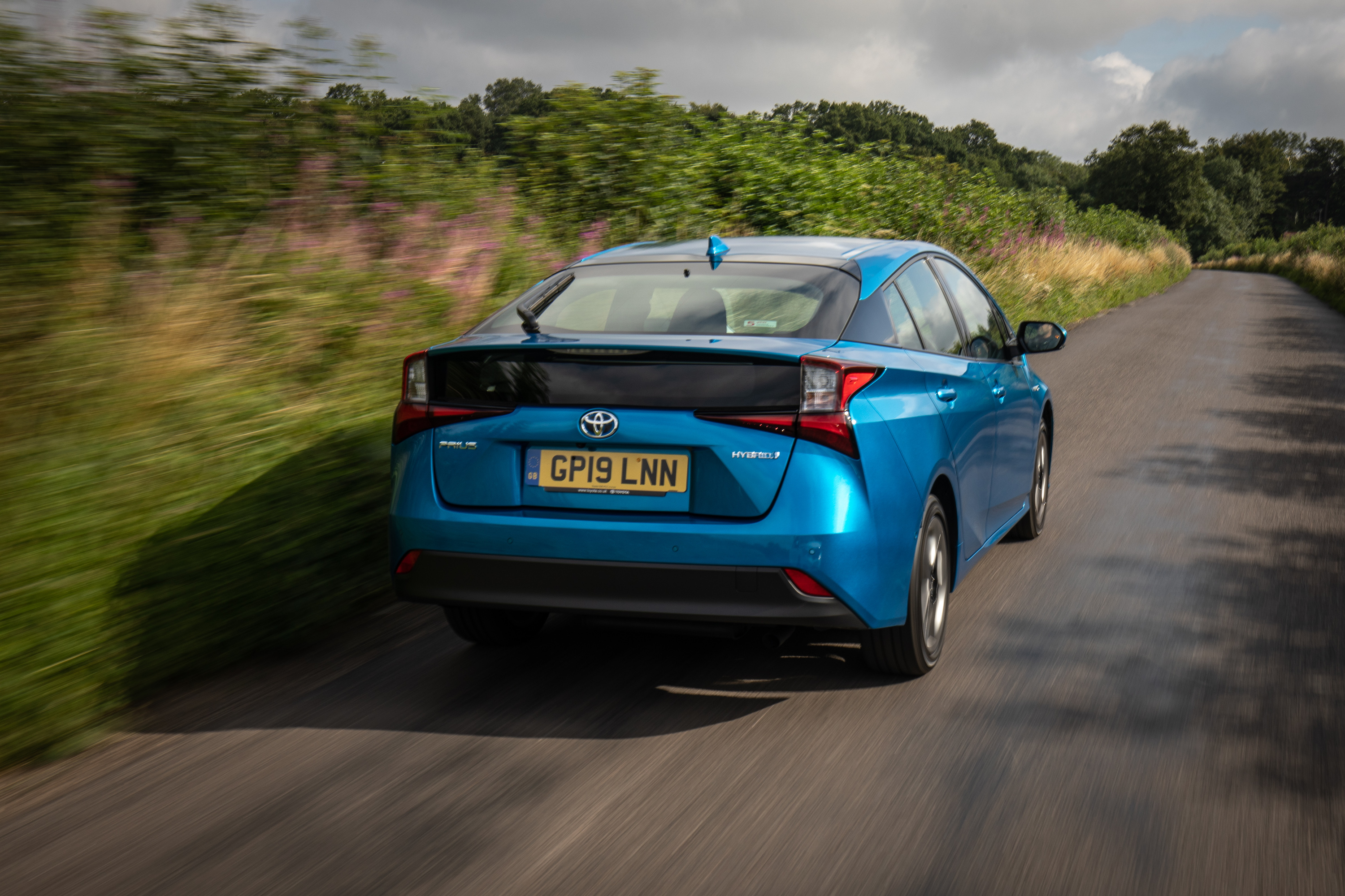 The rear of the Prius features futuristic styling
