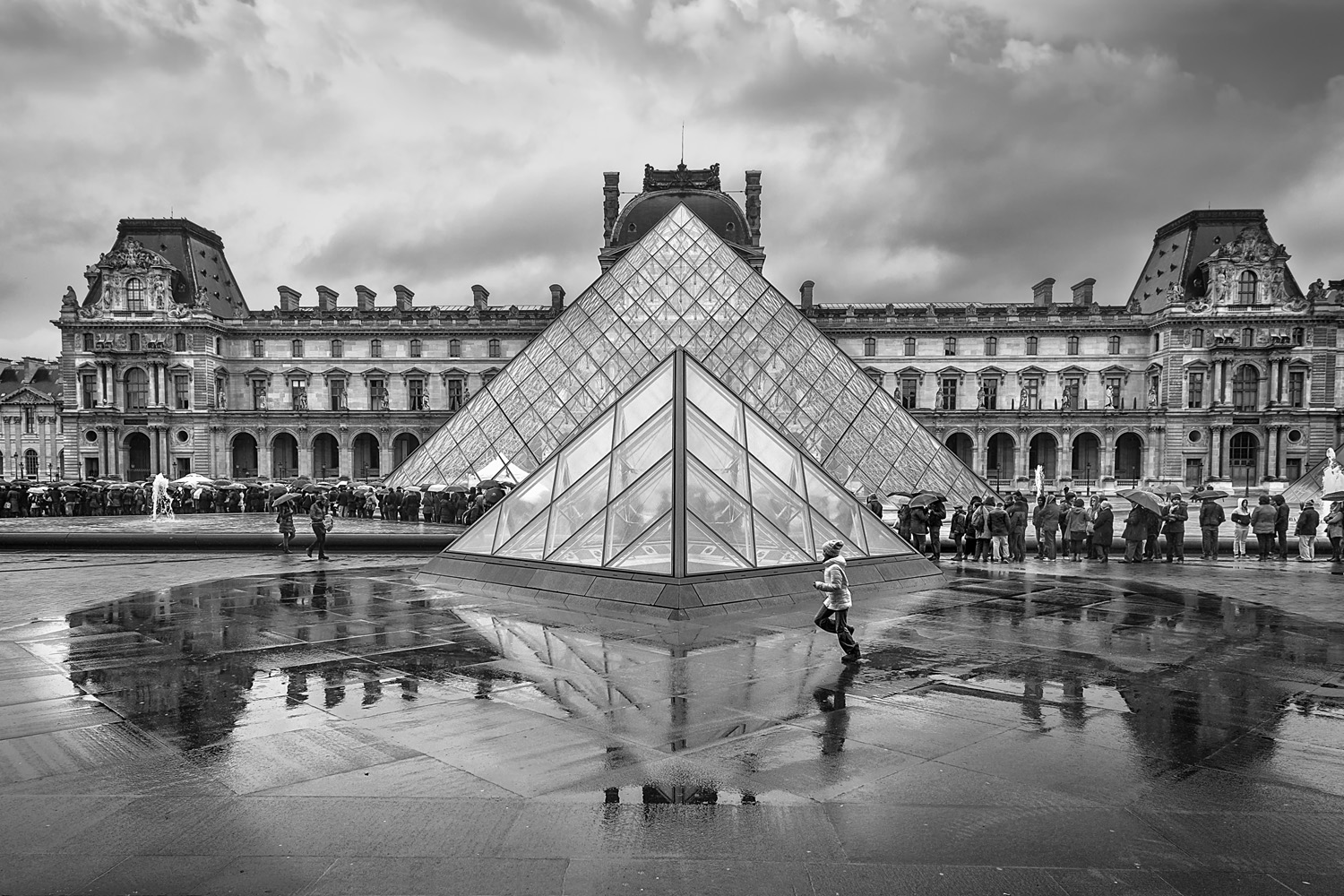 The Louvre on a damp day