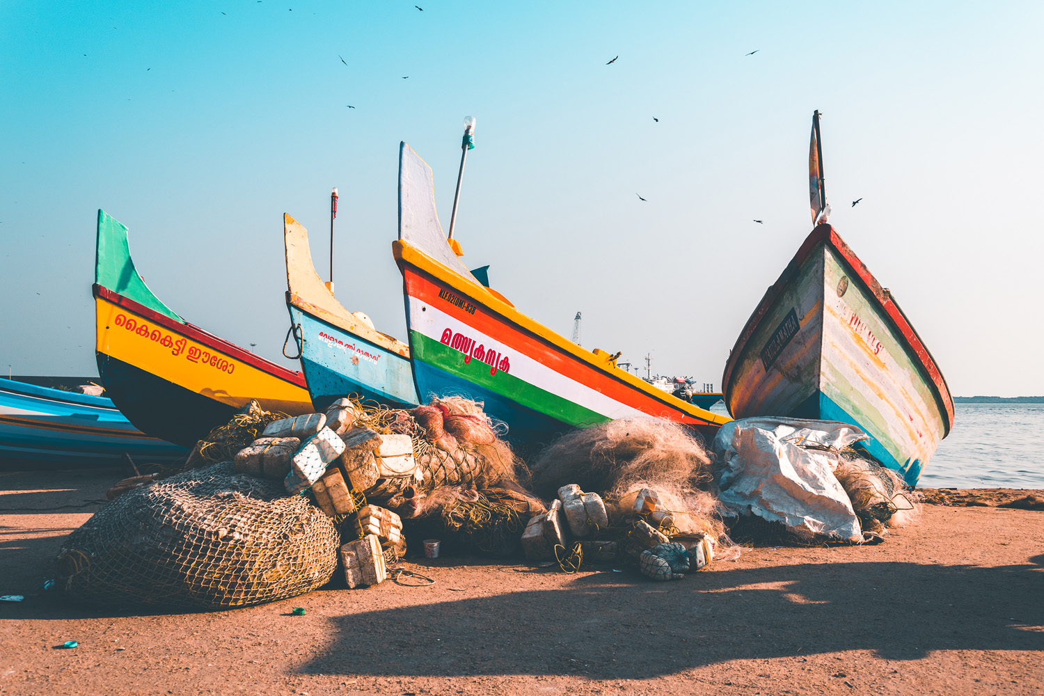 Boats on an Indian beach