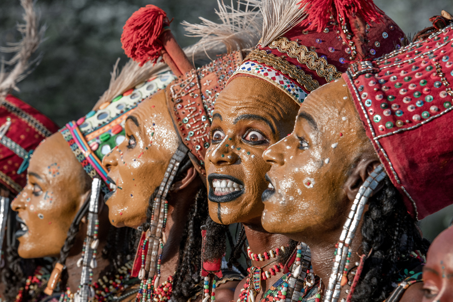 Tribesmen with painted faces