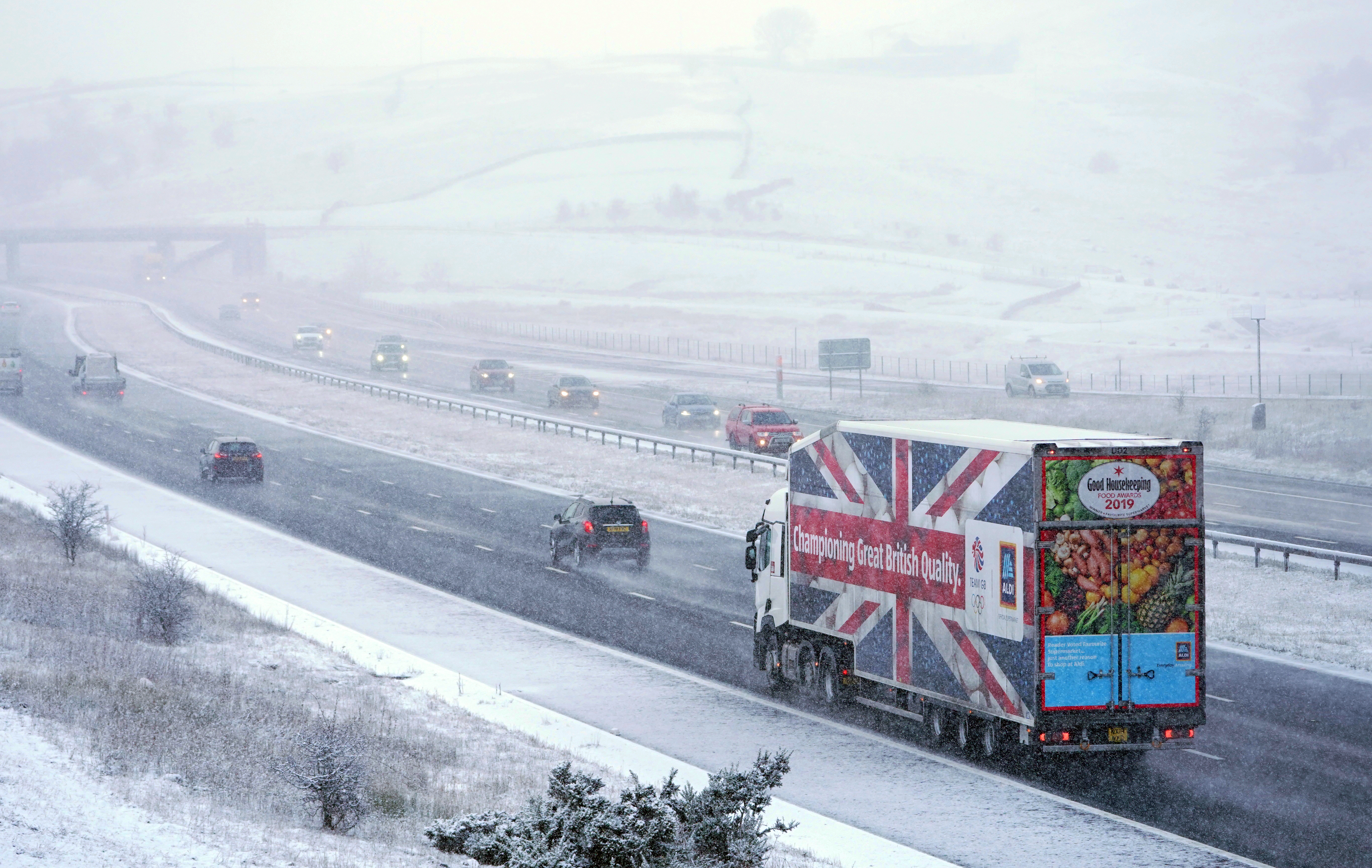Stock image of vehicles in frosty conditions