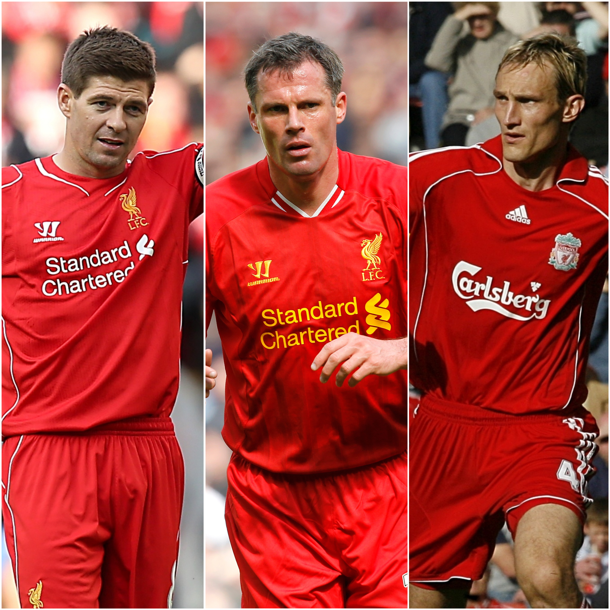 Steven Gerrard, Jamie Carragher and Sami Hyypia, l-r