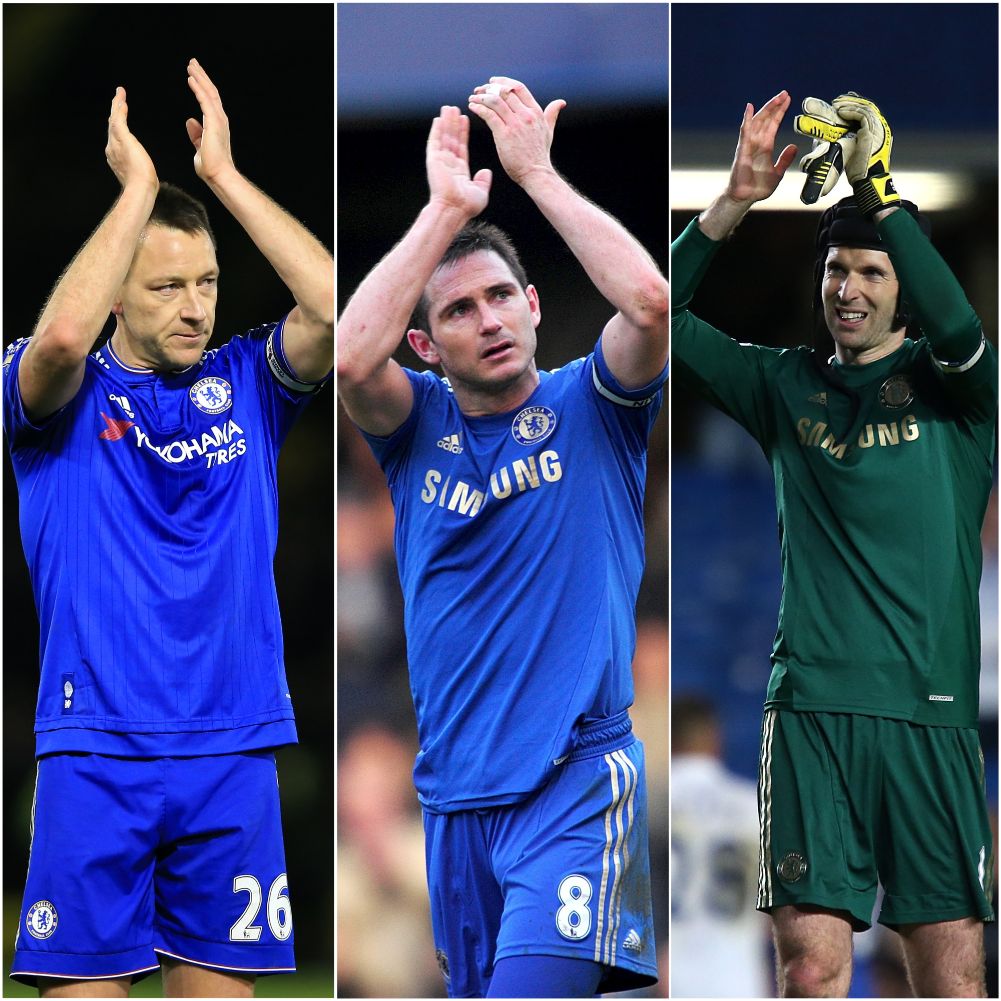 John Terry, Frank Lampard and Petr Cech, l-r