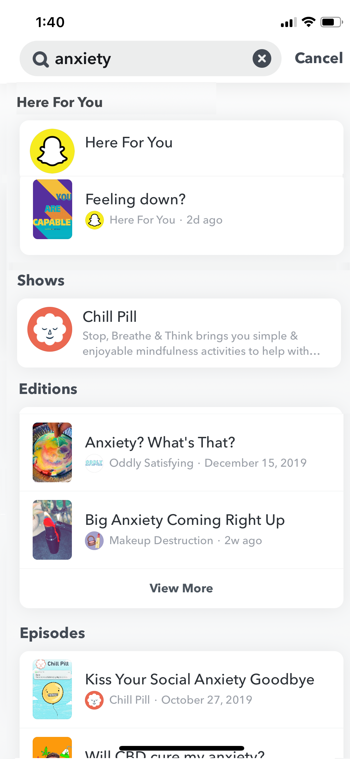 A view of Snapchat's new Here for You tool, which will show user's safety resources when they search for certain topics linked to mental health.