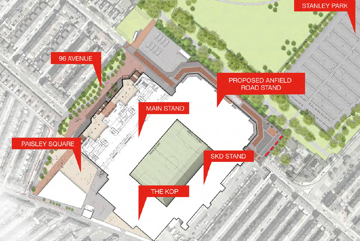 Liverpool are to reroute Anfield Road around their new stand redevelopment