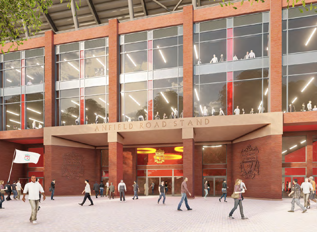 Redevelopment of Liverpool's Anfield Road Stand will mirror that of the Main Stand, completed in 2017