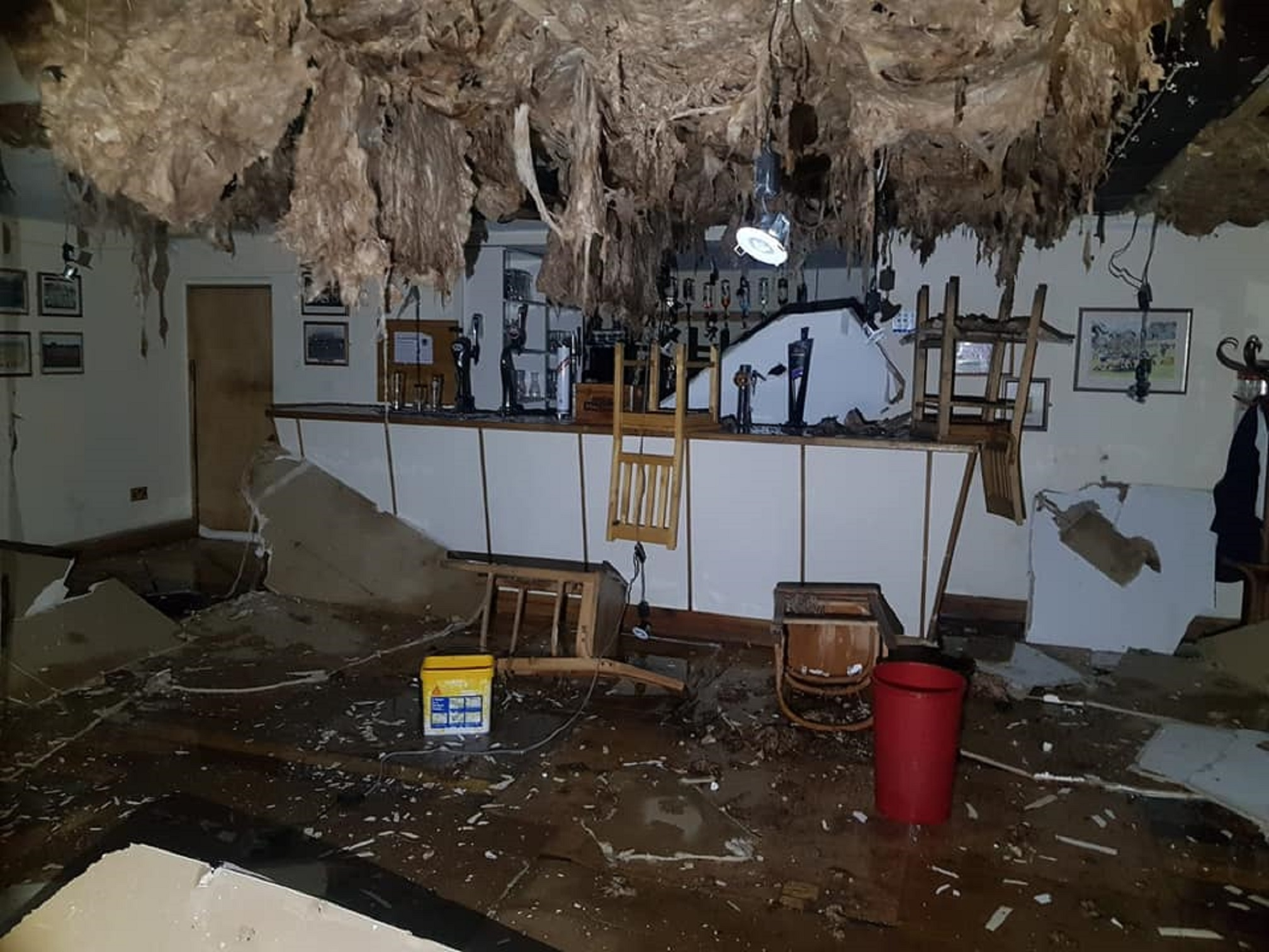 Clubhouse damage at Corby Rugby Club after recent bad weather