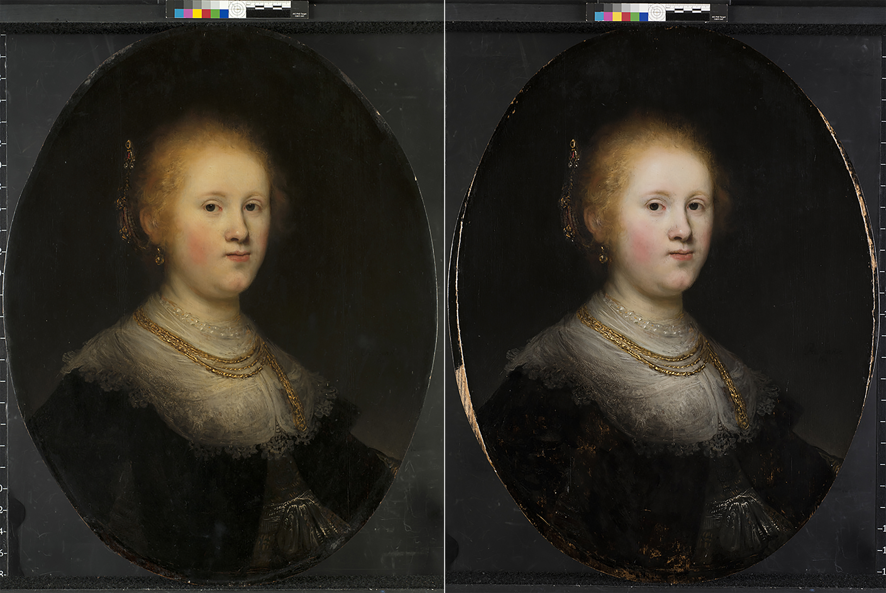 The painting before, left, and after, right, it was restored