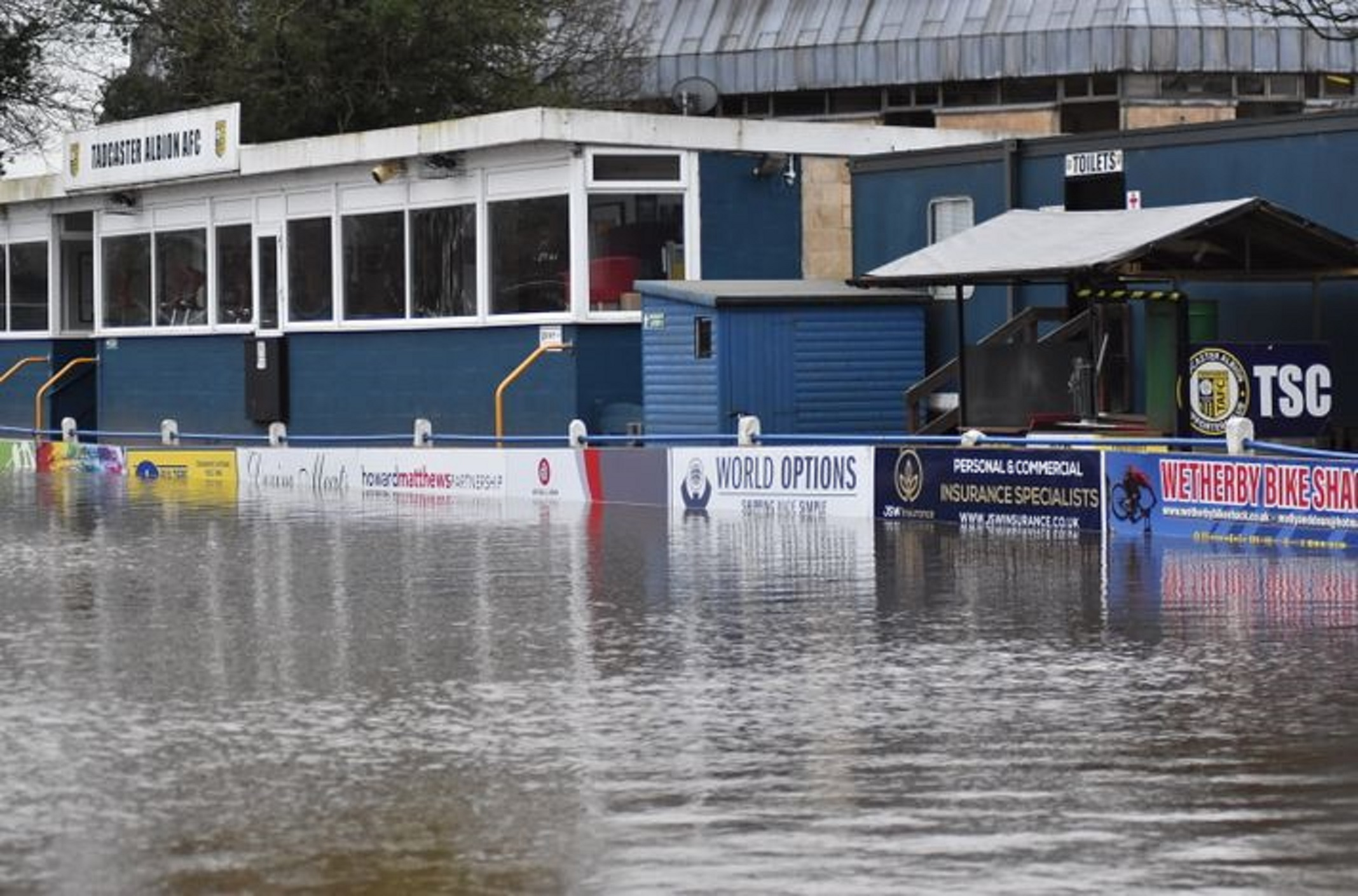 Tadcaster Albion's football pitch submerged under water after flooding