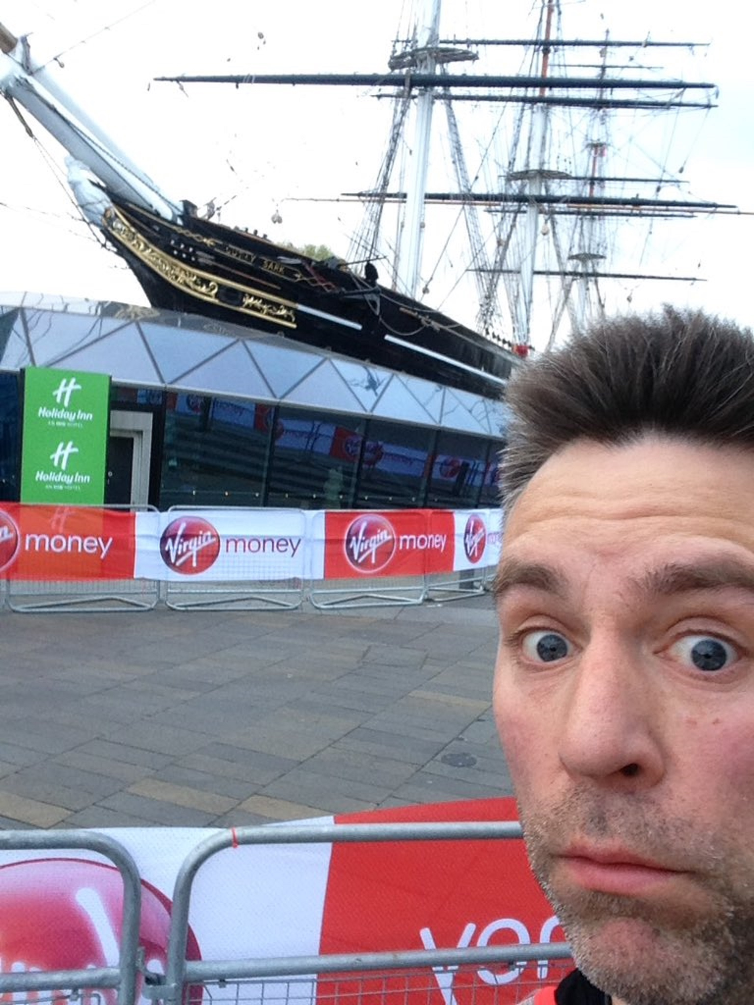 Will Kirk takes in the sights of London during the backwards marathon