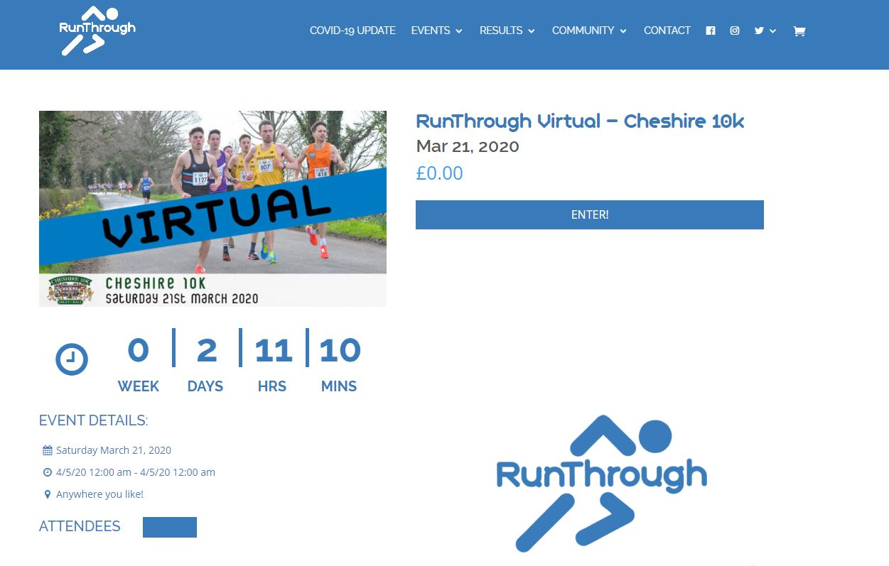 Organisers offer entrants the chance to run the Cheshire 10K virtually
