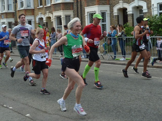 Barbara Ralph at 17 miles in the 2017 London Marathon (Family handout/PA)
