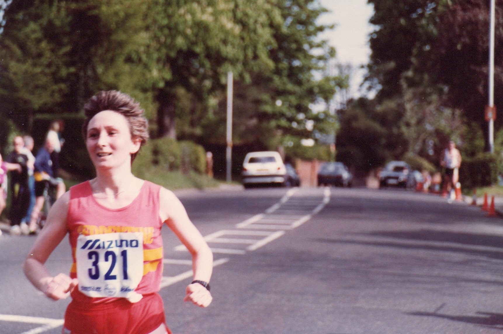 Barbara approaching the finish line in the 1990 Finchley 20 mile road race (Family handout/PA)