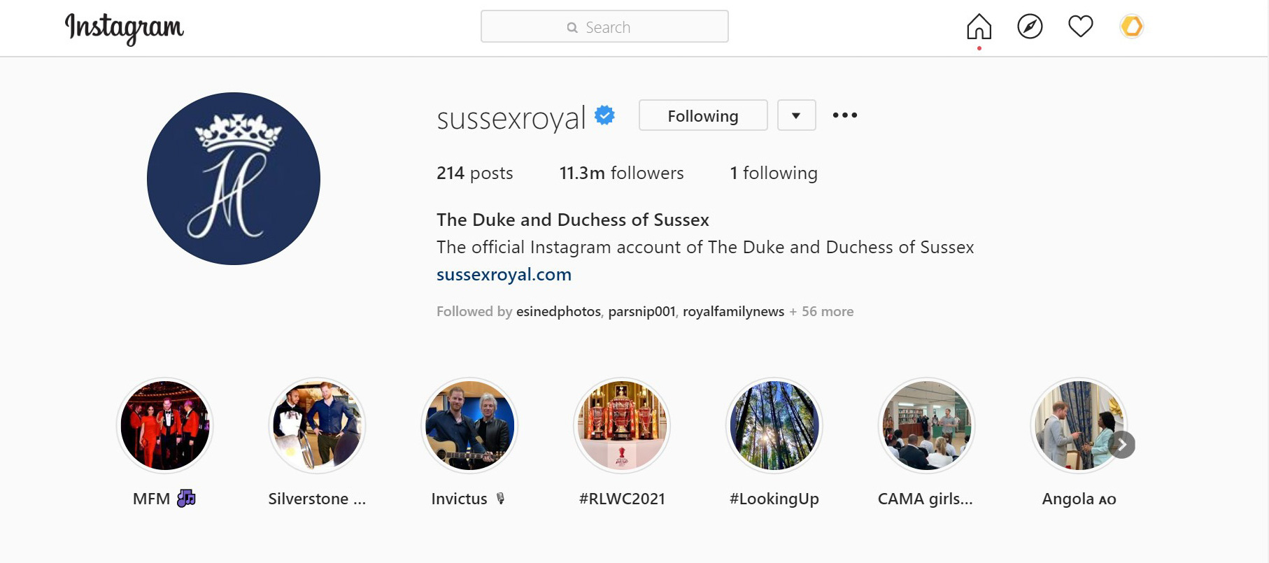 The Sussexes' Instagram account
